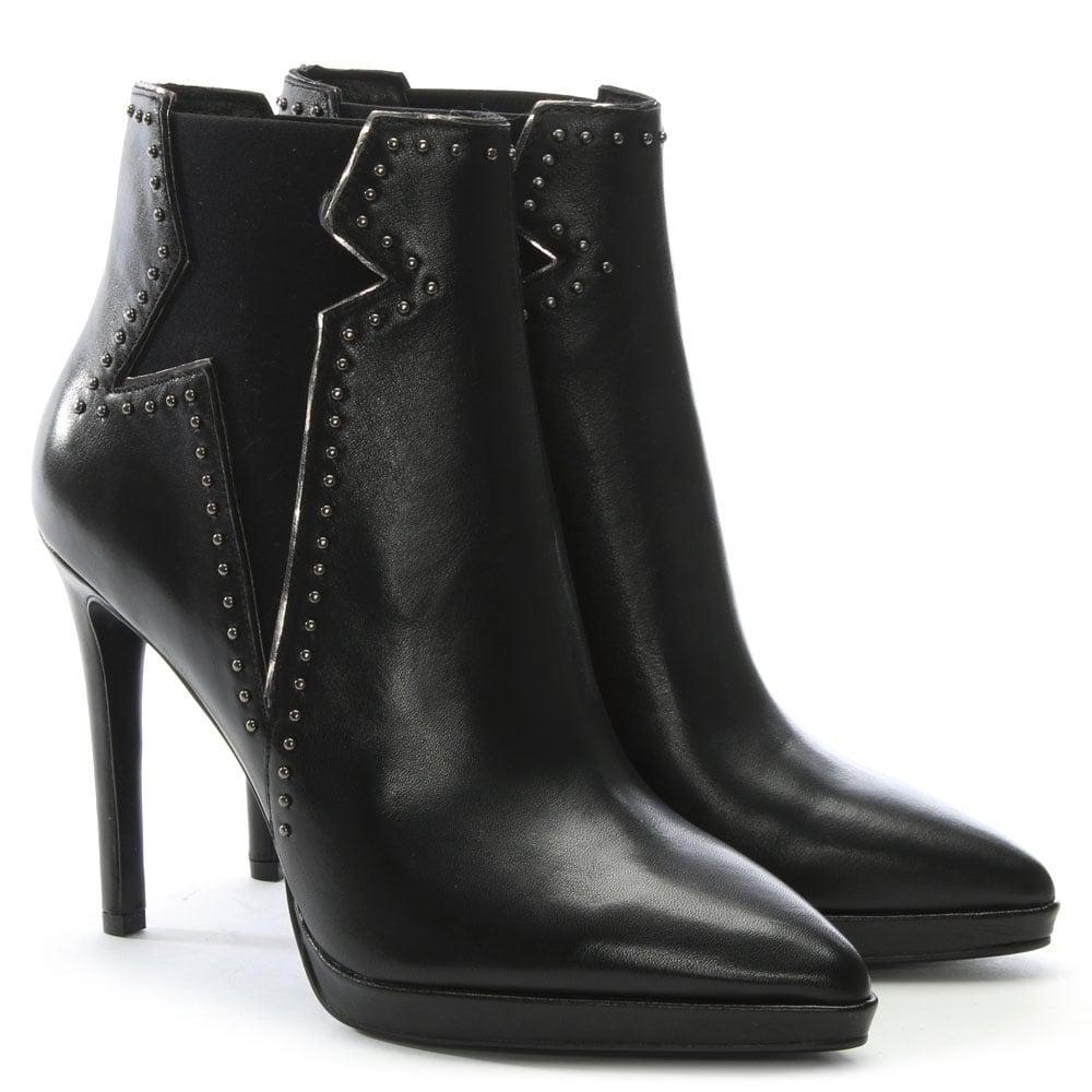 Lola Cruz Barek Black Leather Studded Ankle Boots