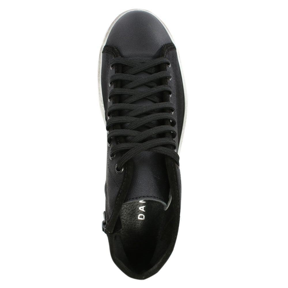Daniel Slabsy Black Leather Flatform High Top Trainer for Men