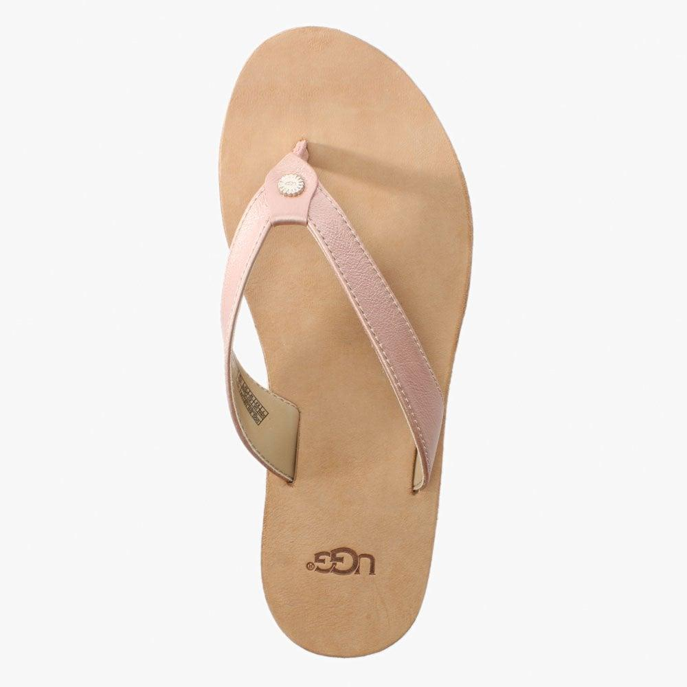 8d3ae615c22 Lyst - UGG Tawney Rose Gold Metallic Toe Post Flip Flops