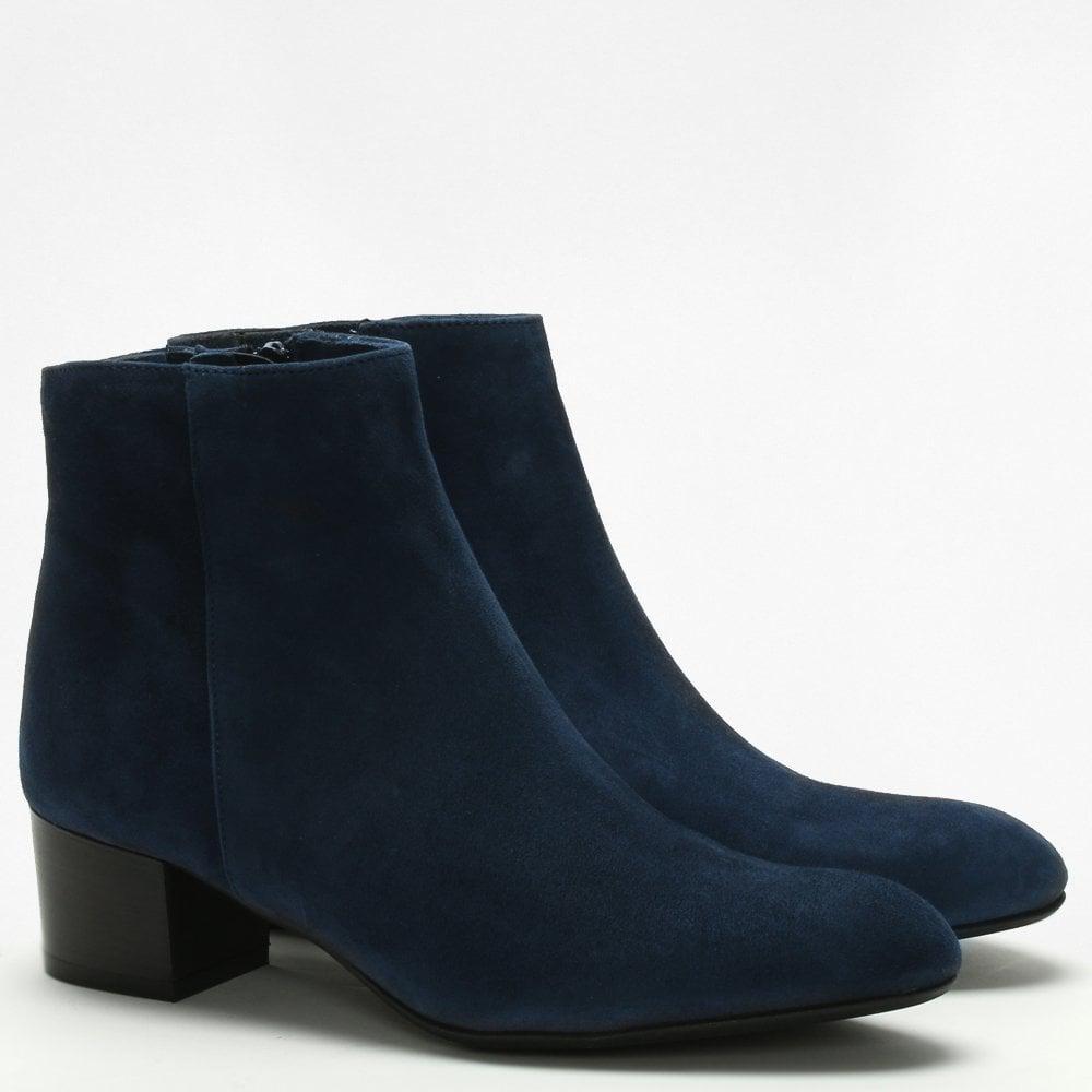 de9929ecc3208 Lamica Navy Suede Low Block Heel Ankle Boots in Blue - Lyst