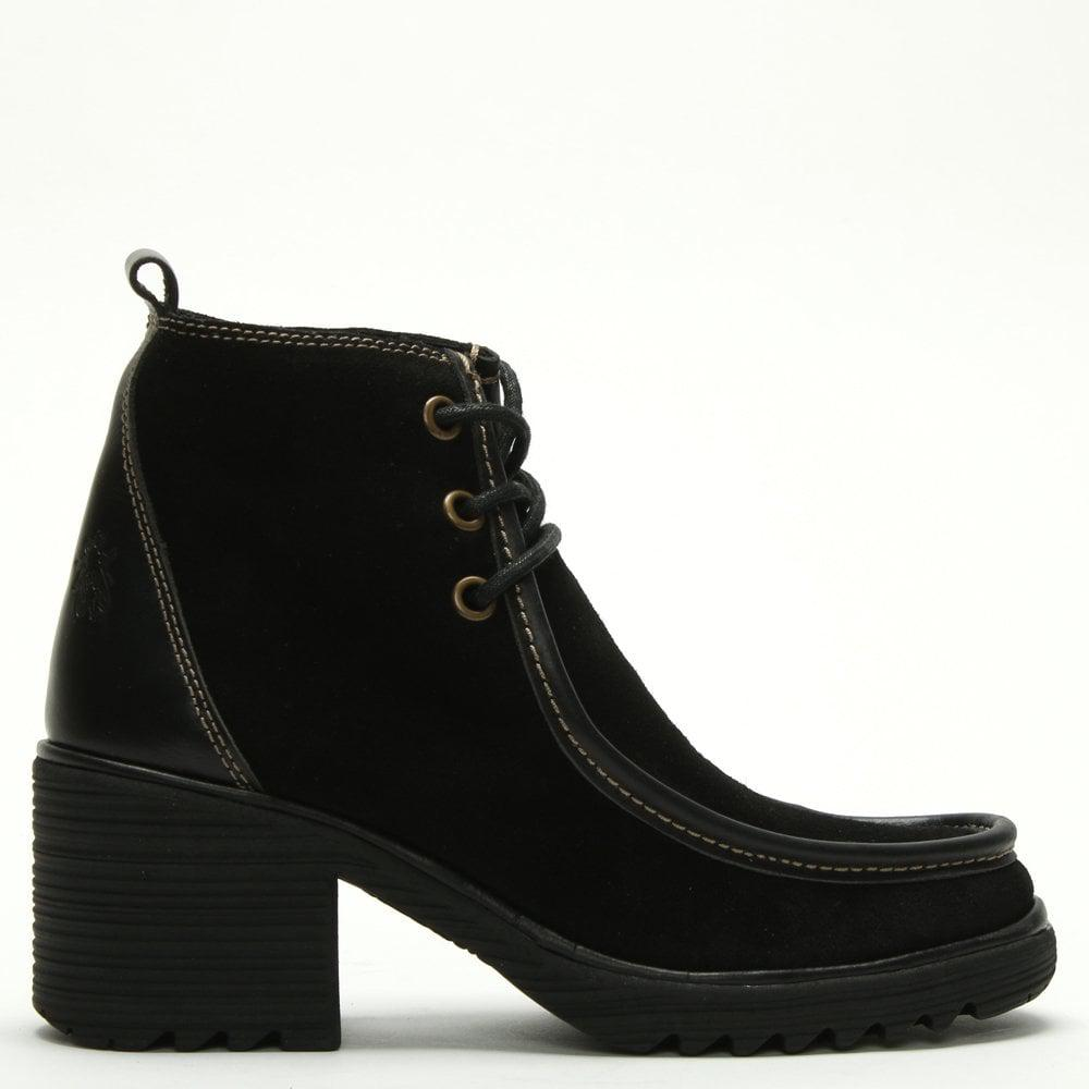 d1eb09eab49 Fly London Wins Black Suede Block Heel Lace Up Ankle Boots - Lyst