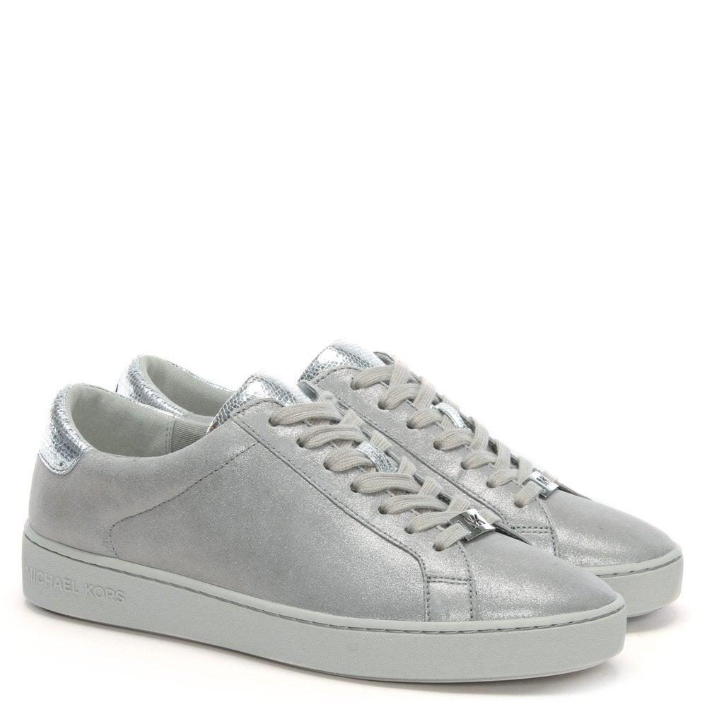 abd82901d0db Michael Kors - Irving Silver Metallic Leather Lace Up Trainers - Lyst. View  fullscreen