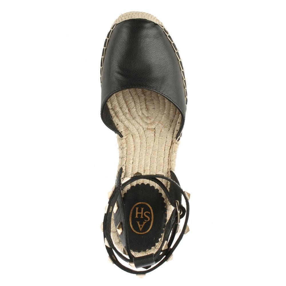 ceb19b34b34 Ash Whitney Black Leather Studded Wedge Espadrille