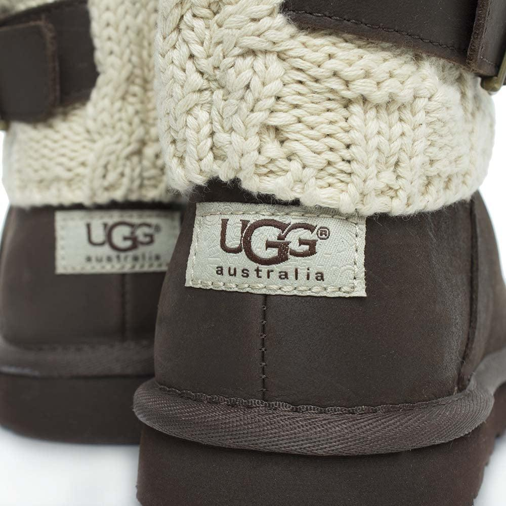 UGG Cassidee Chocolate Suede Cotton Cable Knit Collar Ankle Boot in Brown Suede (Brown)