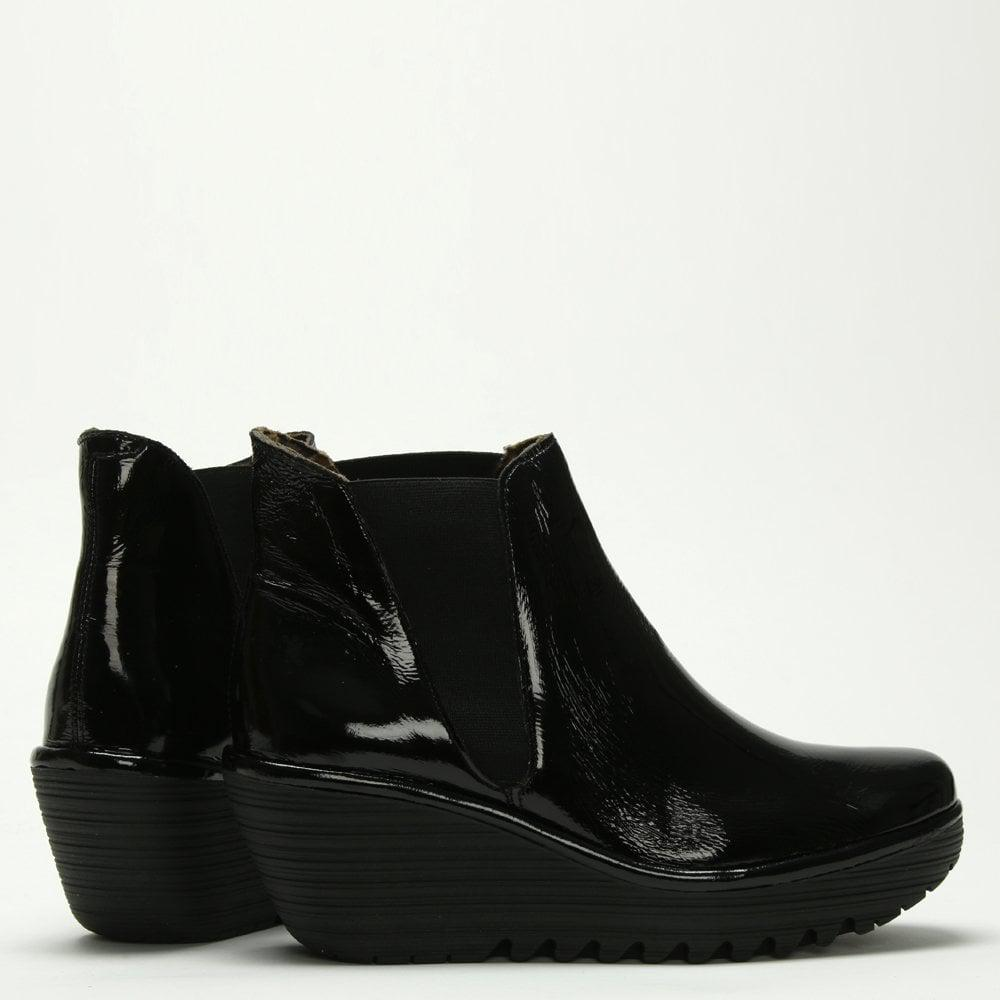 Fly London Woss Black Patent Leather