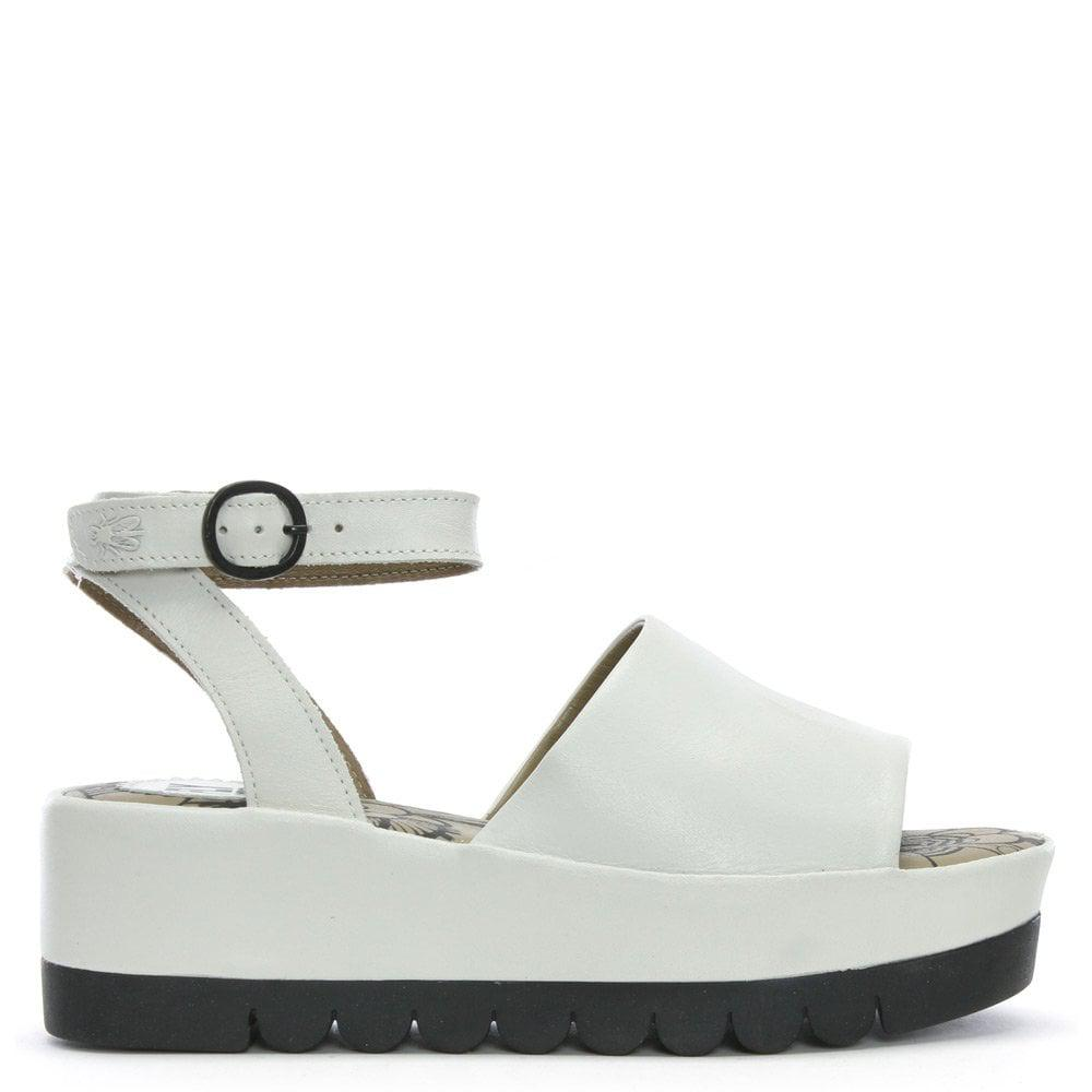 8532bf79ccbb Lyst - Fly London Booz White Leather Flatform Sandals in White