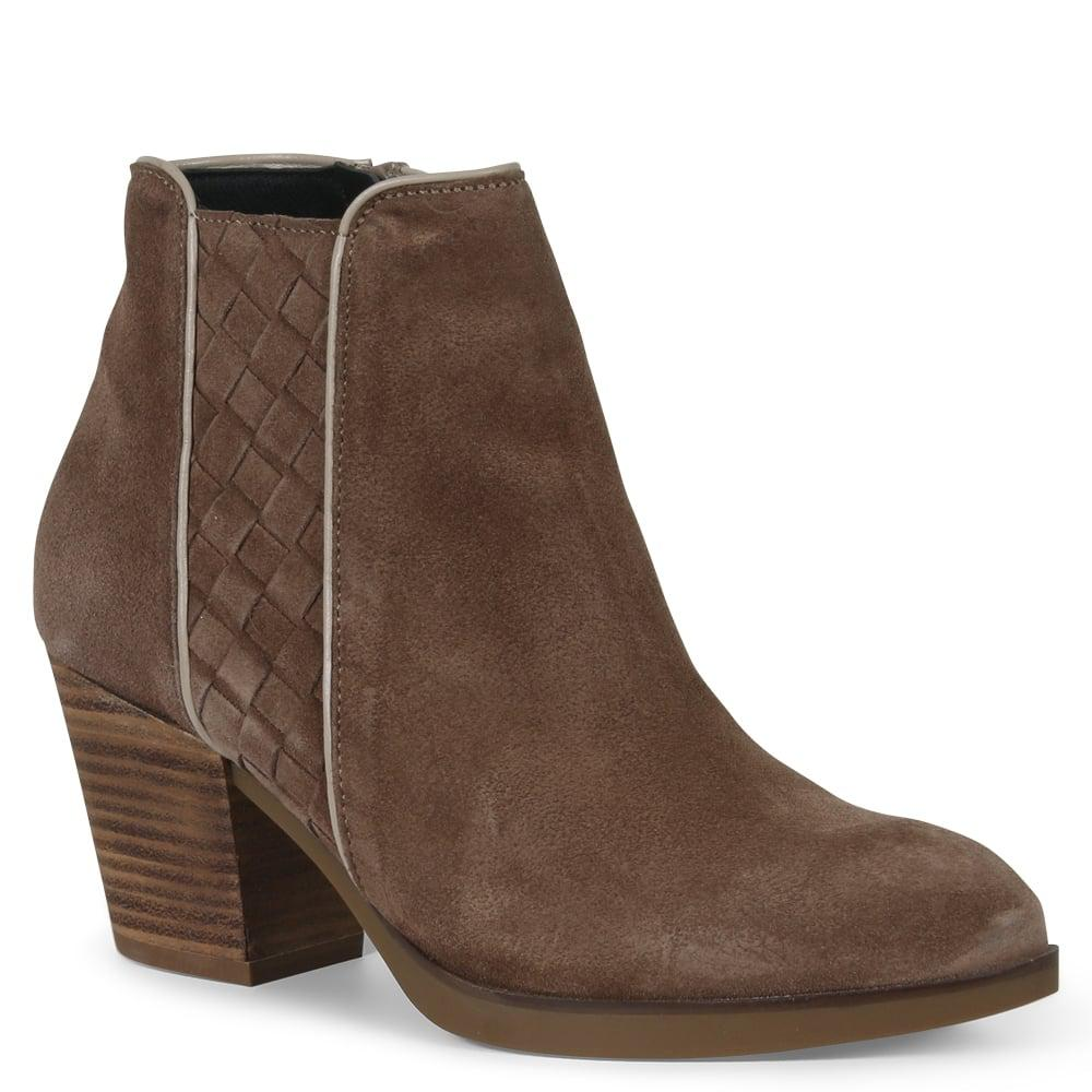 Daniel Footwear Preview Taupe Suede Woven Stacked Heel Ankle Boots in Brown