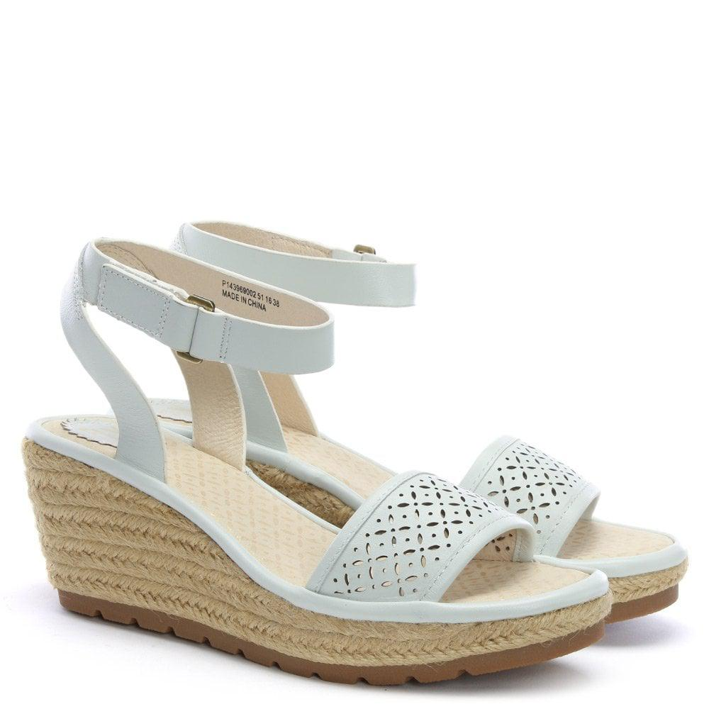 13215d1fa58 Lyst - Fly London Ekal White Leather Wedge Espadrille Sandals in White
