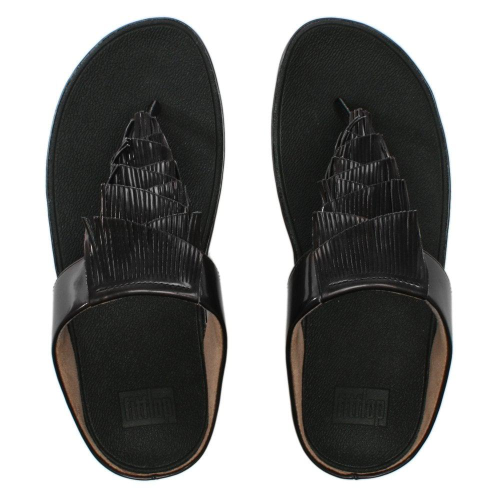 ad8ba212ce4e Fitflop - Cha Cha Black Metallic Fringe Toe Post Sandals - Lyst. View  fullscreen