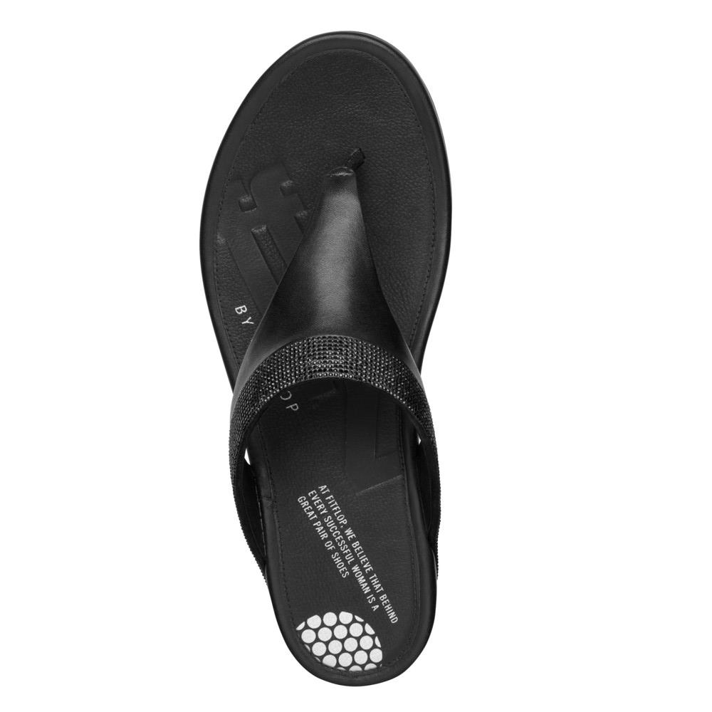 8c8478095f6485 Lyst - Fitflop Black Leather Banda Micro Crystal Toe Post Sandal in ...