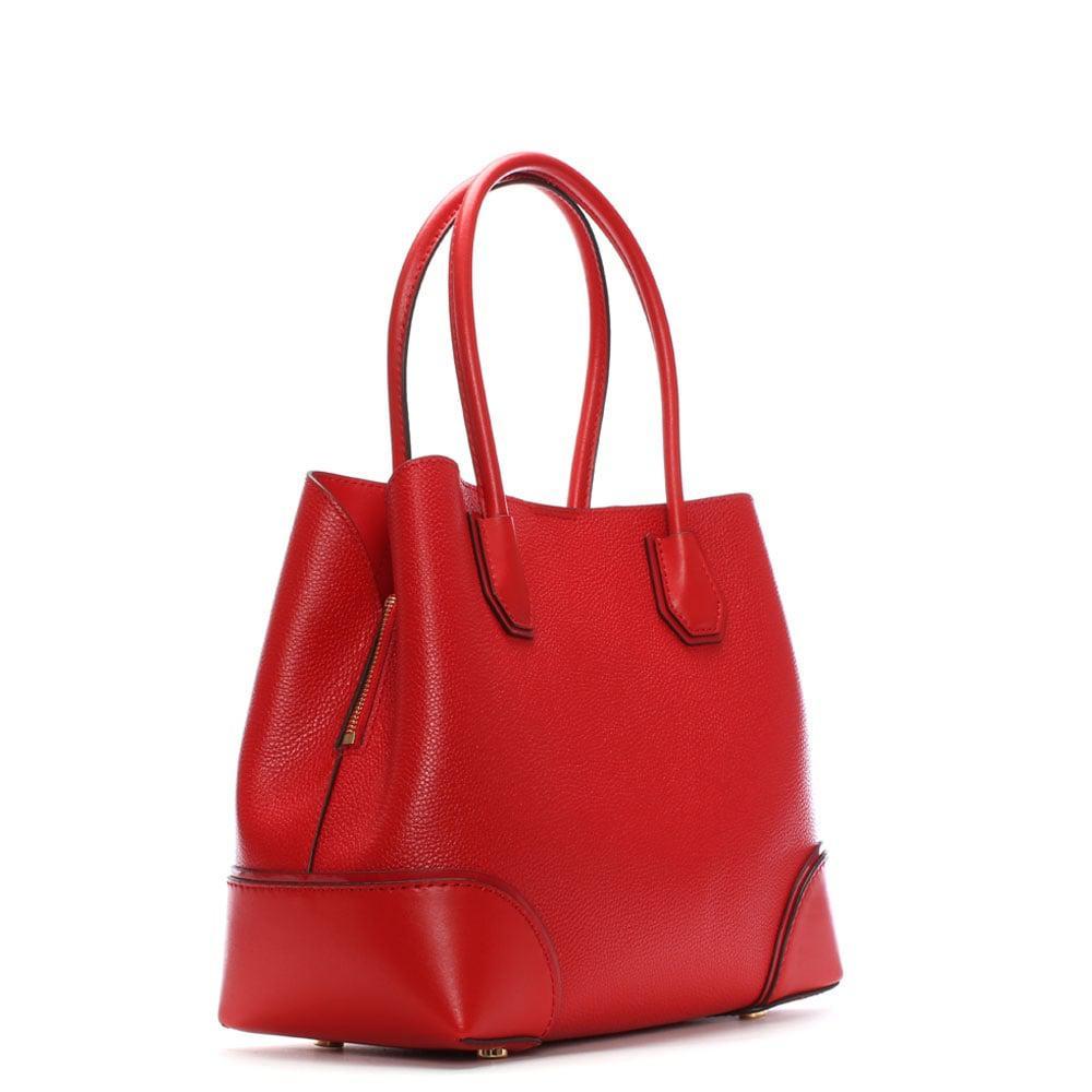 Michael Kors Annie Medium Bright Red Pebble Leather Tote