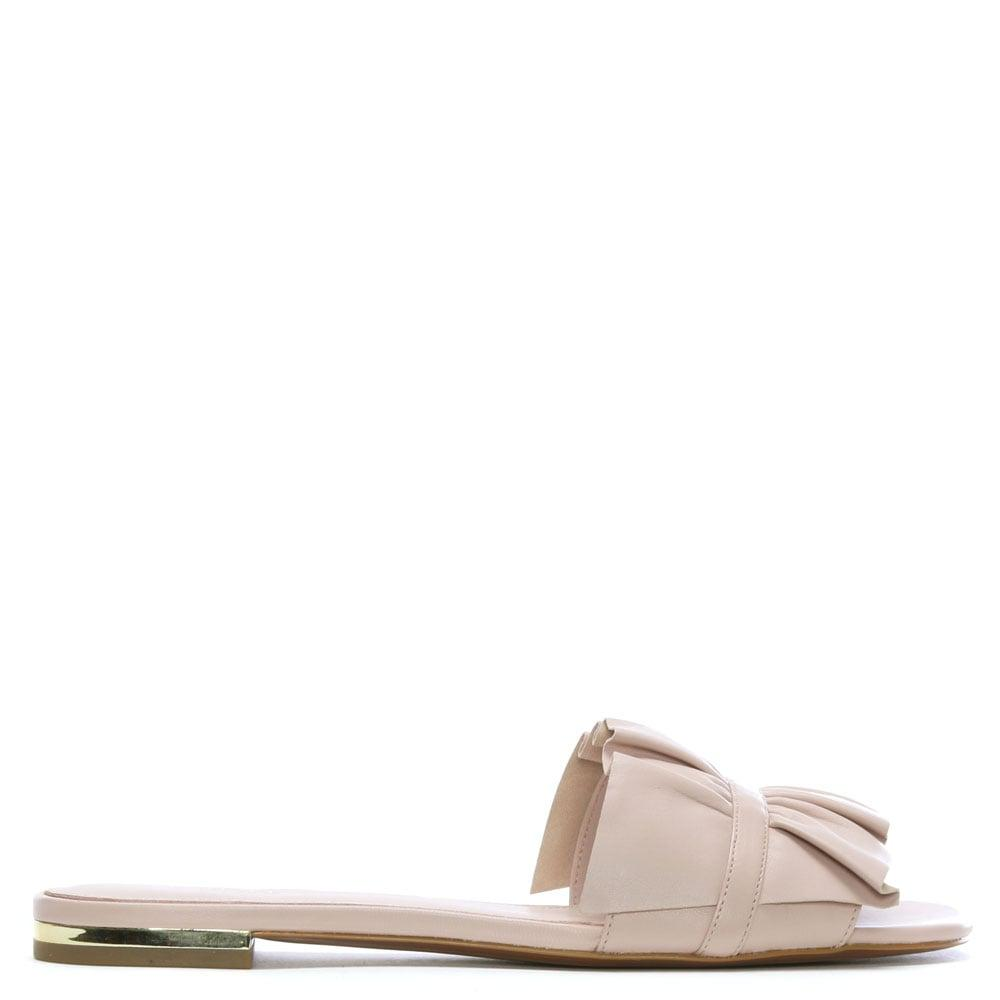 26b9934b5ef7 Lyst - Michael Kors Bella Soft Pink Leather Ruffle Mules in Pink