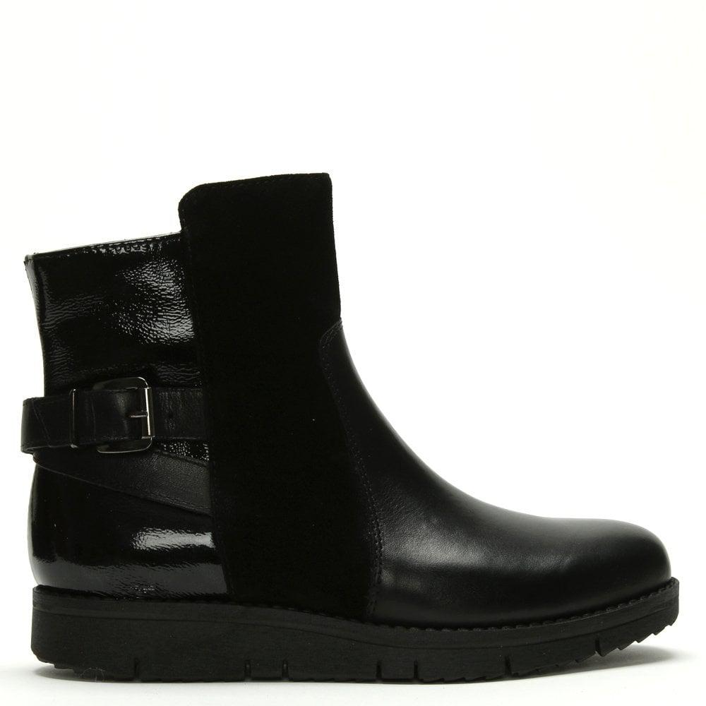 1a5ead070 Daniel Reeva Black Leather & Suede Buckled Ankle Boots in Black - Lyst