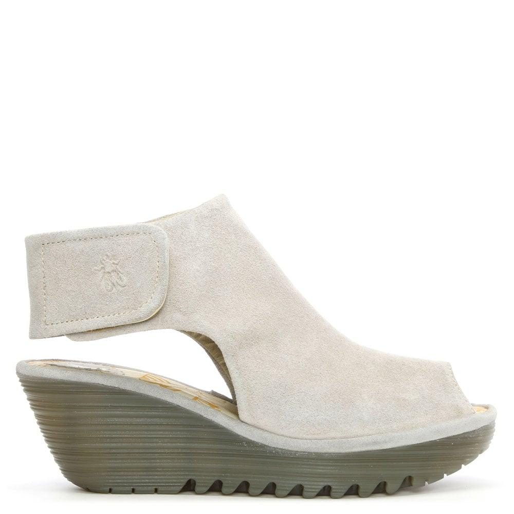 Lyst Fly London Yone Concrete Suede Backless Wedge Sandal