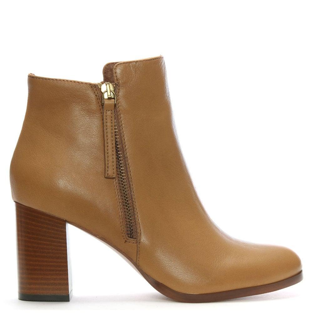 Daniel Footwear Tan Leather High Block Heel Ankle Boots In