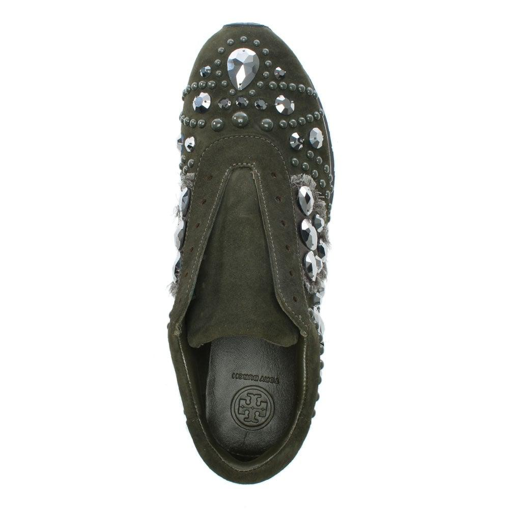 b756a6bf5ade Lyst - Tory Burch Scarlette Runner Khaki Suede Jewelled Sneakers in Gray