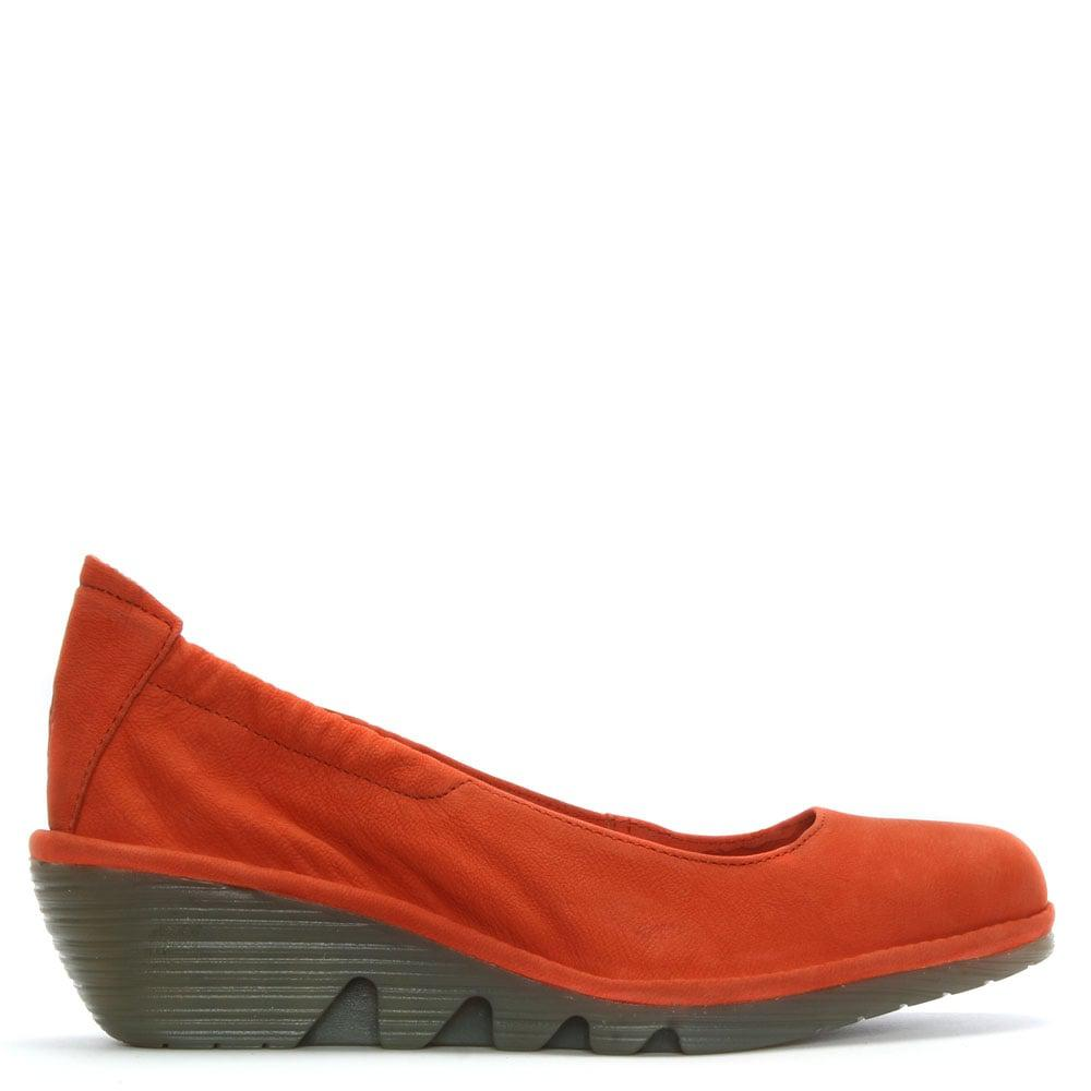 Fly London Pled Orange Suede Stretch Back Mid Wedge Pumps