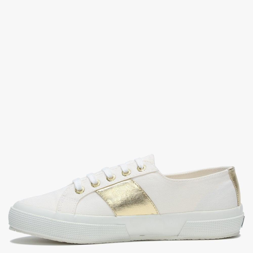 Silver Canvas Lace Up Trainers - Lyst