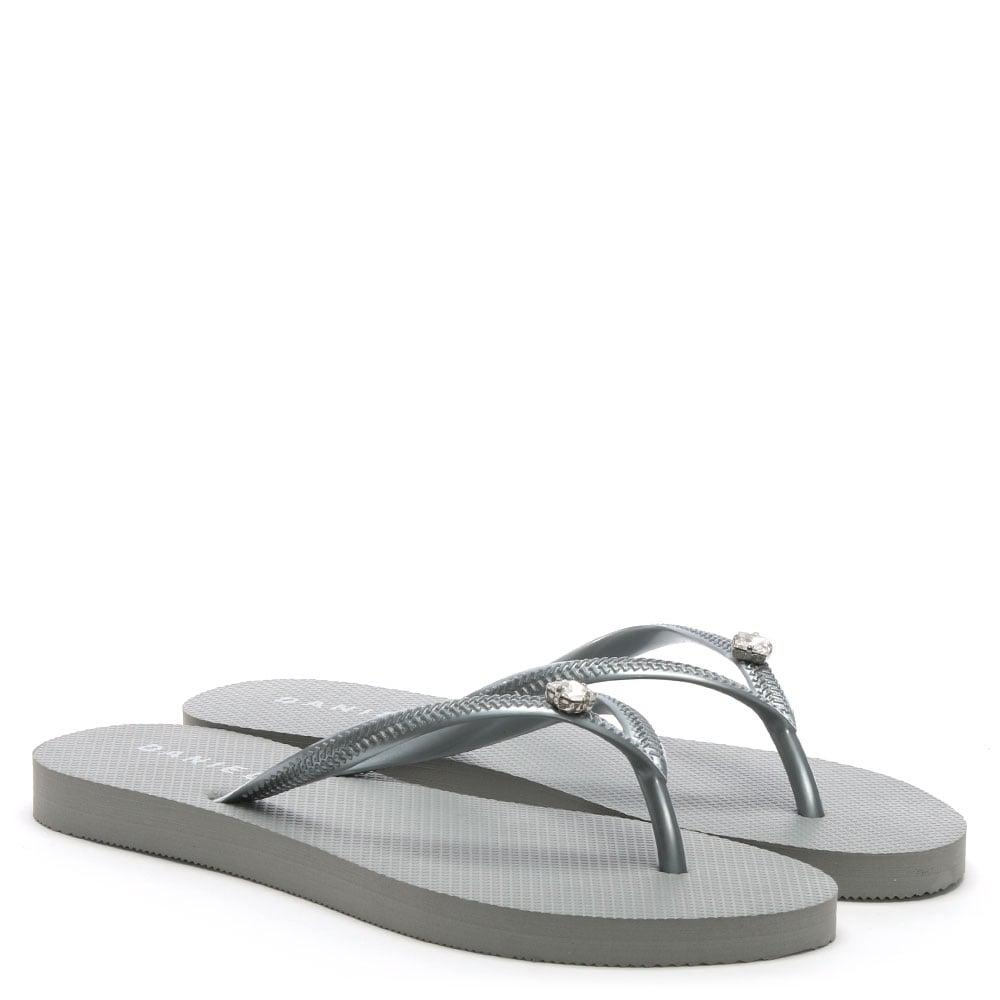 ac1853c4d9298 Lyst - Daniel Elona Silver Jewelled Toe Post Flip Flops in Metallic