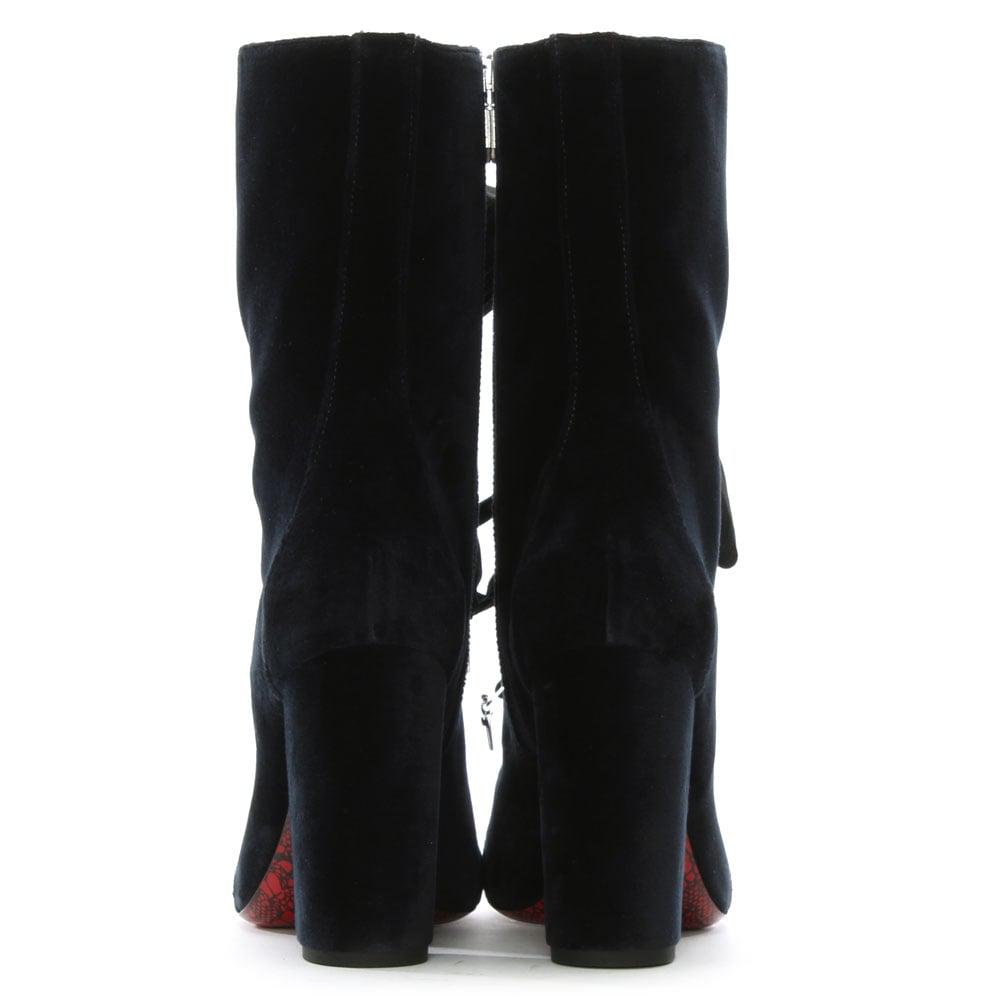 Cesare Paciotti Navy Velvet Lace Up Calf Boots in Blue
