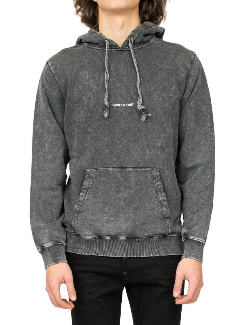 cfd6e29f6 Saint Laurent - Gray Logo Hoodie for Men - Lyst. View fullscreen