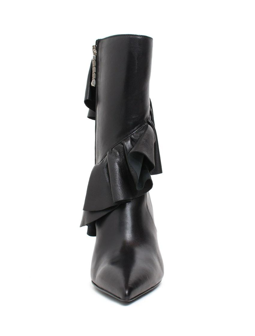 JW Anderson Ruffled Leather Boots in Black