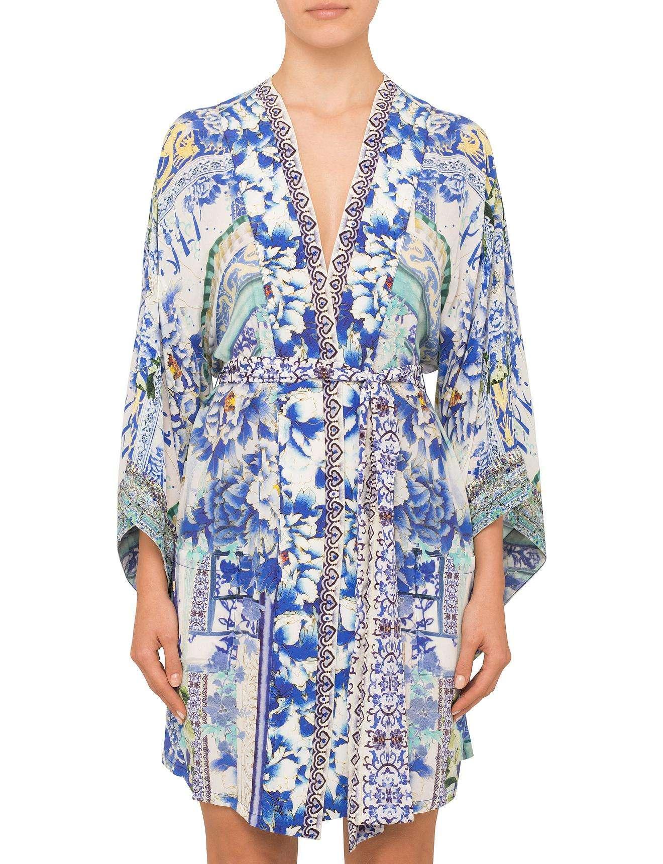 Camilla Porcelain Paradise Kimono With Tie Belt in Blue - Lyst b4b78f85377