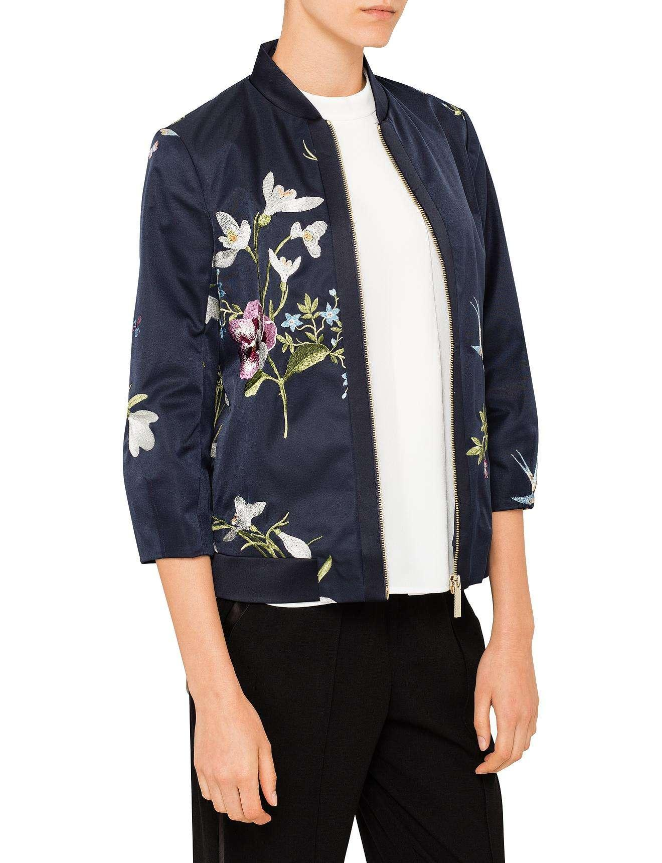e6dc802124251 Lyst - Ted Baker Spring Meadow Bloomah Bomber Jacket in Blue