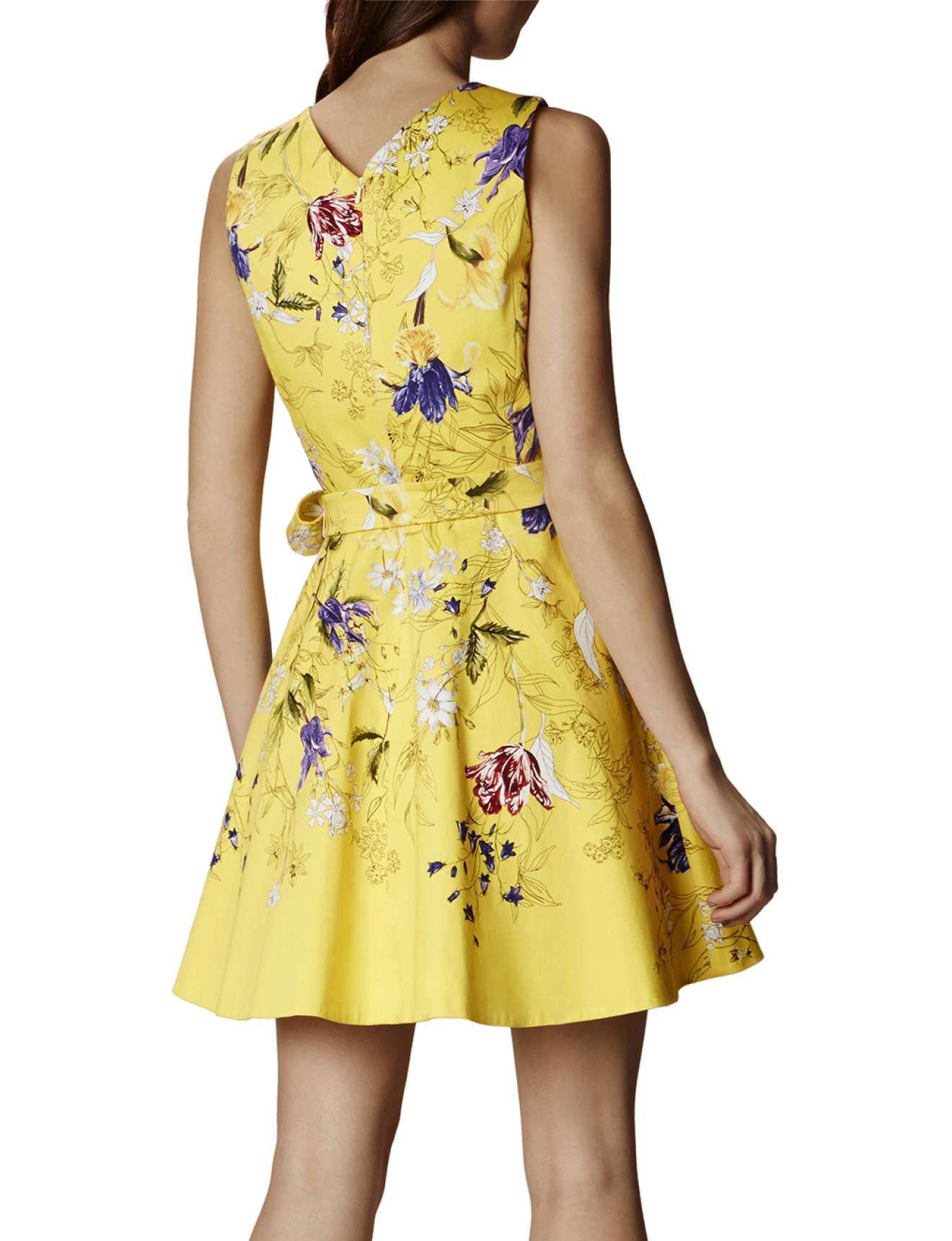 Lyst karen millen yellow floral a line dress yellowmulti in yellow gallery womens yellow dresses mightylinksfo