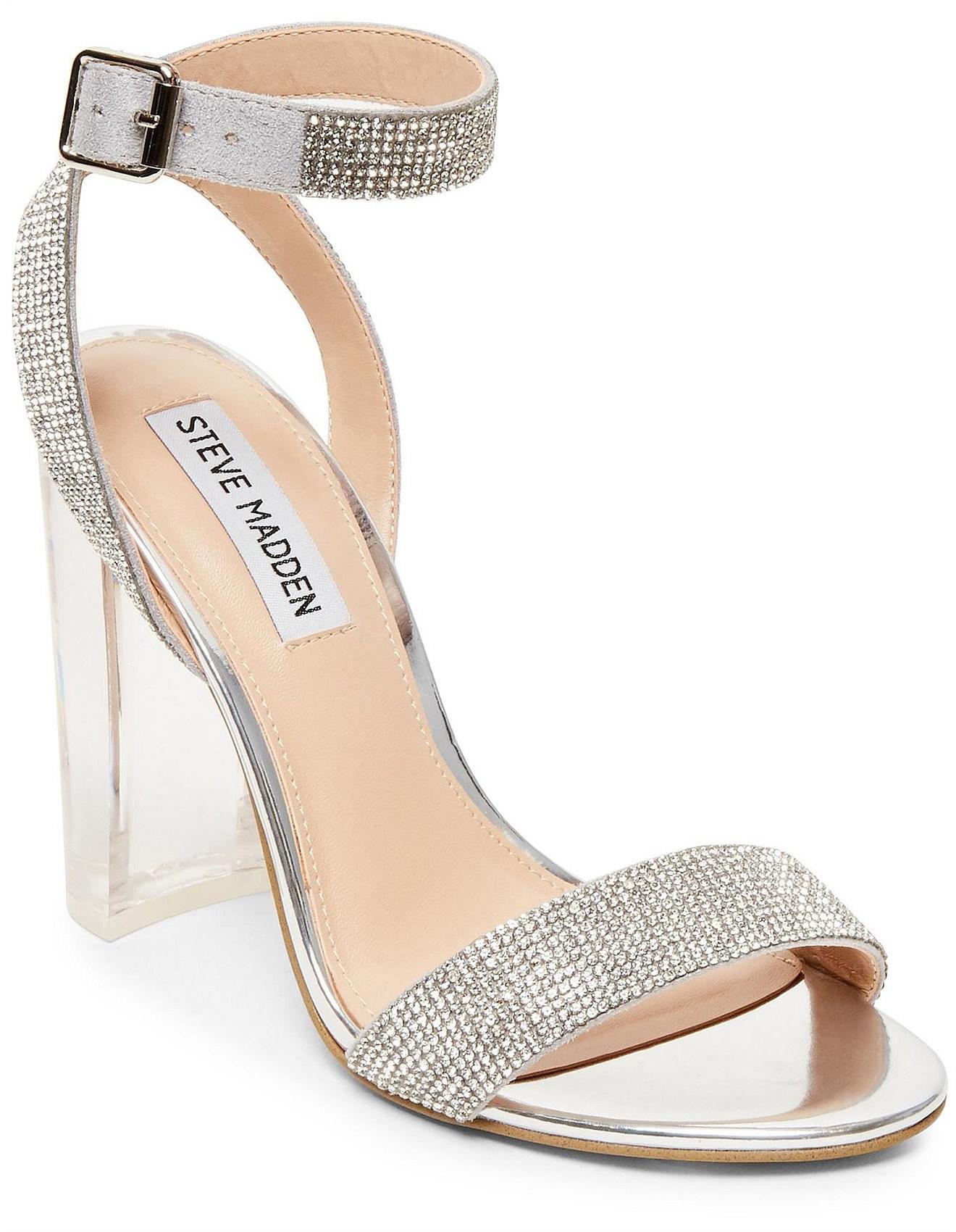 Marilyn Moda Girls Silver Glitter Heel with Rhinestone Studded Buckle Detail