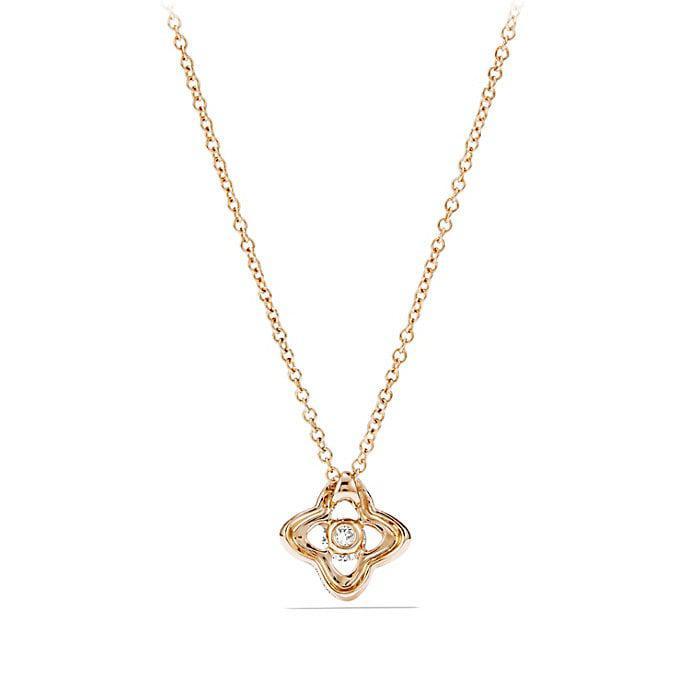 18kt yellow gold Cable Collectibles Quatrefoil diamond pendant necklace - Unavailable David Yurman OKGkpOG