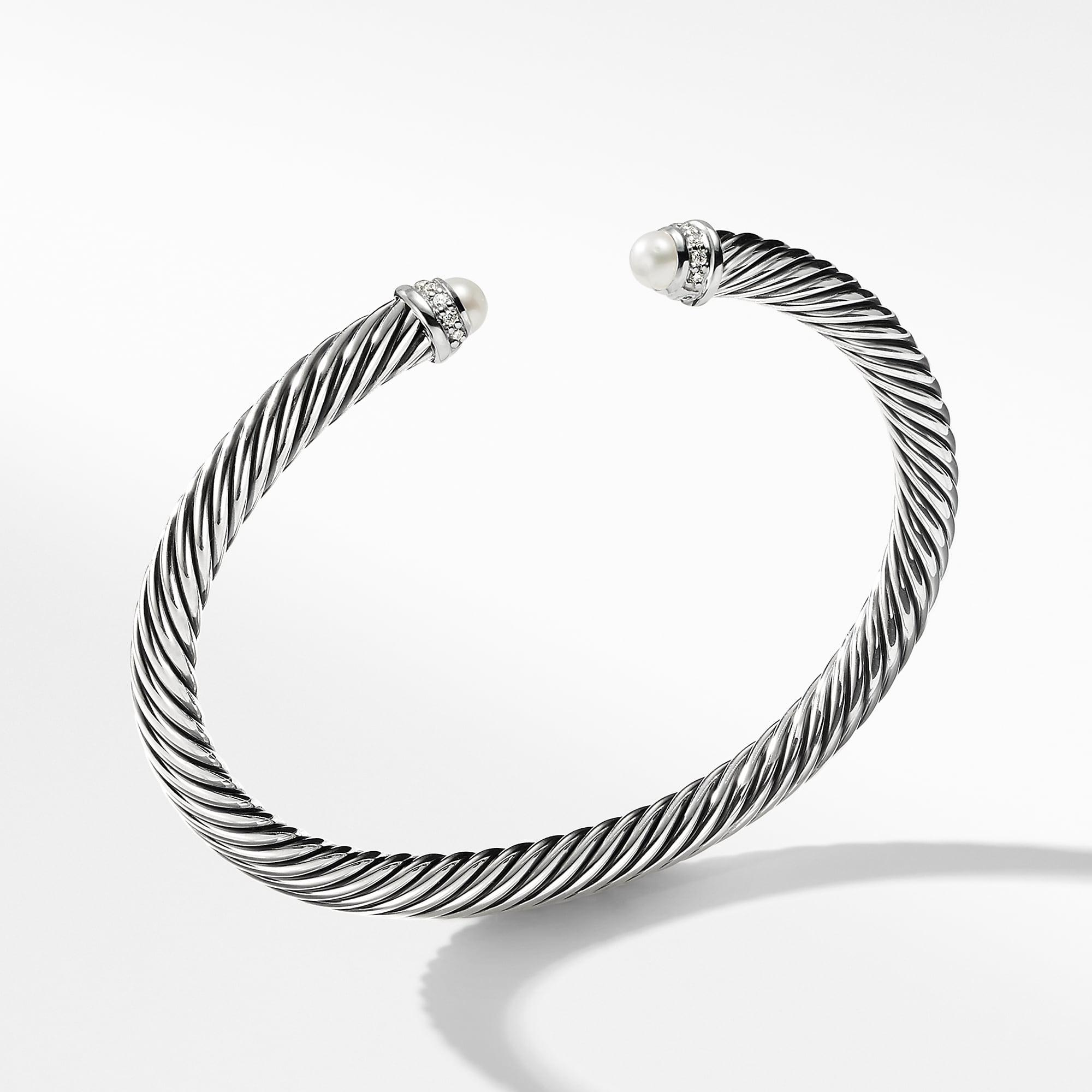 Lyst David Yurman Cable Classics Bracelet With Pearls And Diamonds