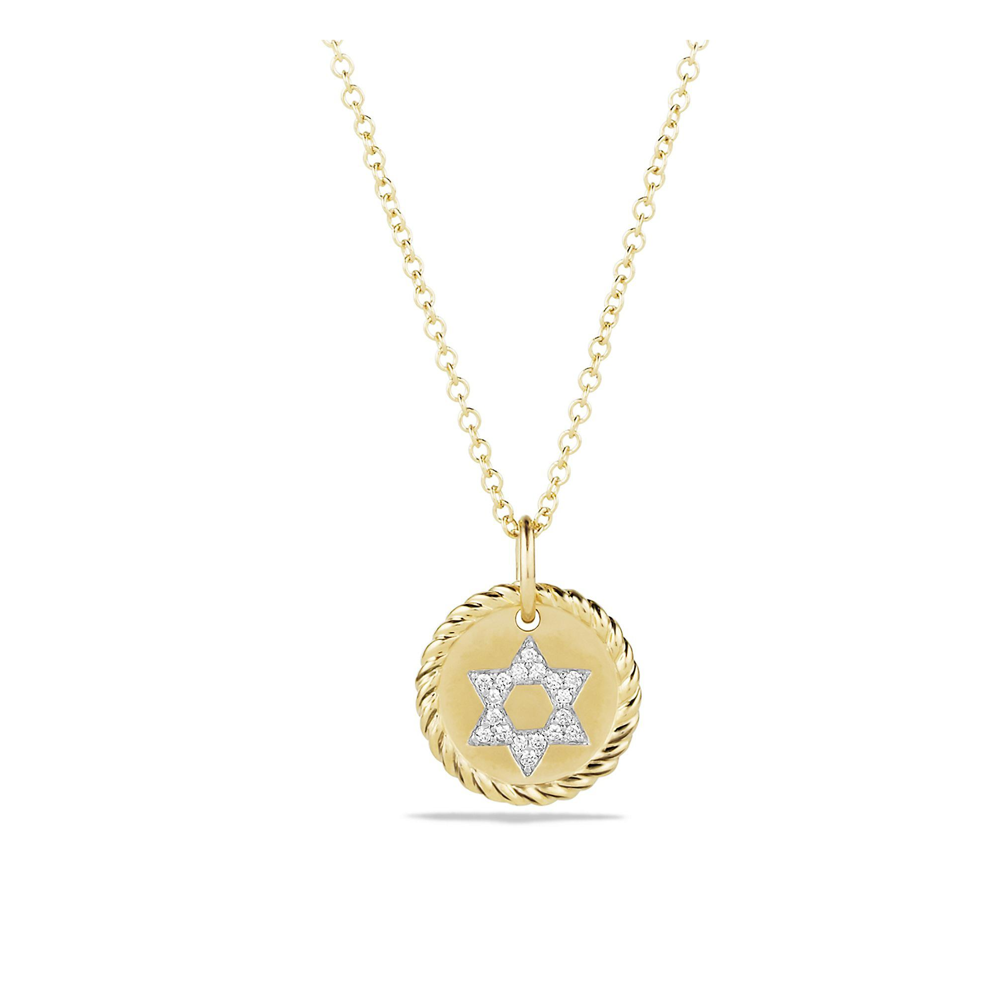 9b5d6cdf161a David Yurman. Women's Metallic Cable Collectibles Star Of David Necklace  With Diamonds In 18k Gold
