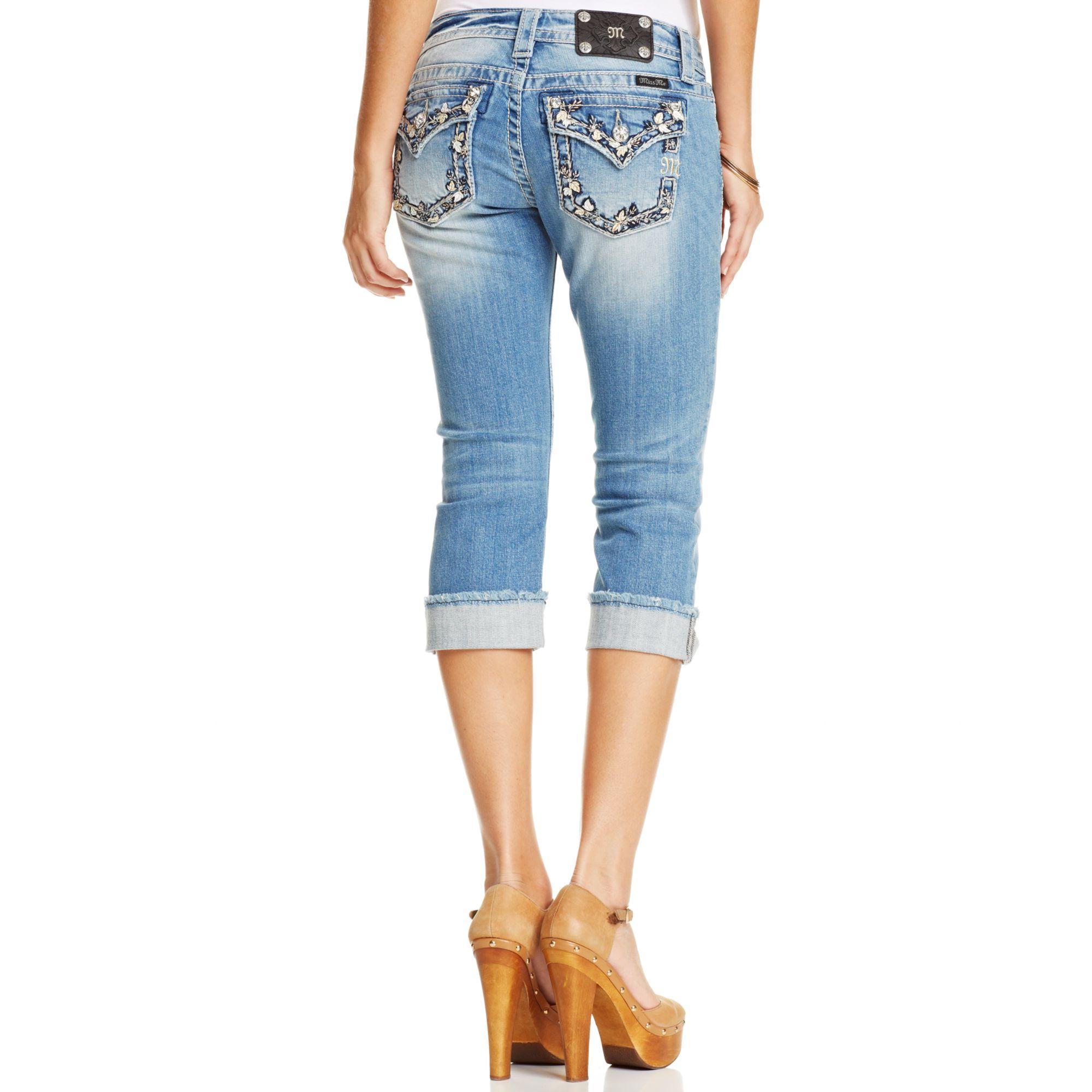 Miss me Rhinestone Capri Jeans in Blue | Lyst