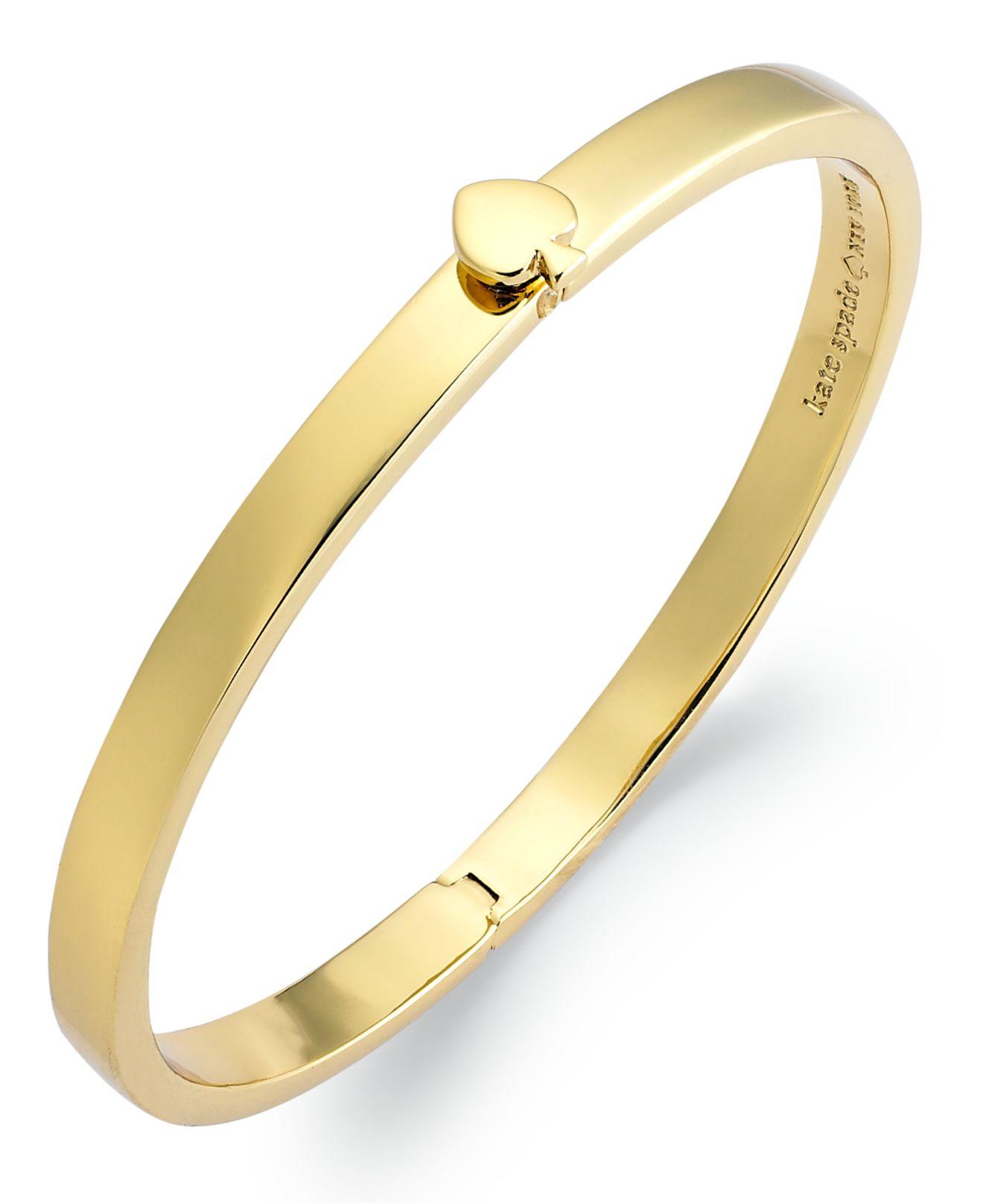 Kate Spade 12k Gold Plated Spade Hinged Thin Bangle