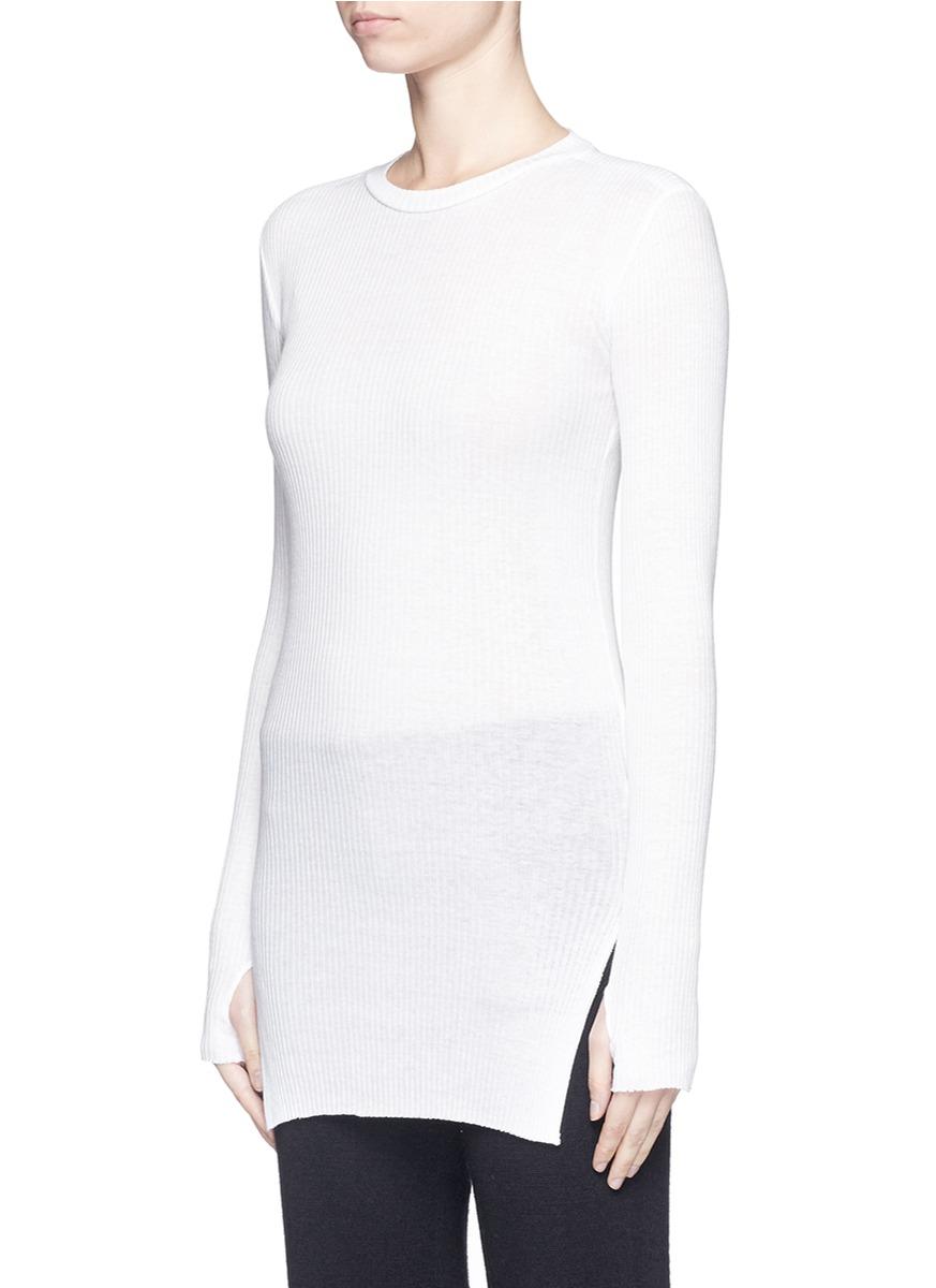 Helmut lang Cotton-angora Turtleneck Sweater in White | Lyst