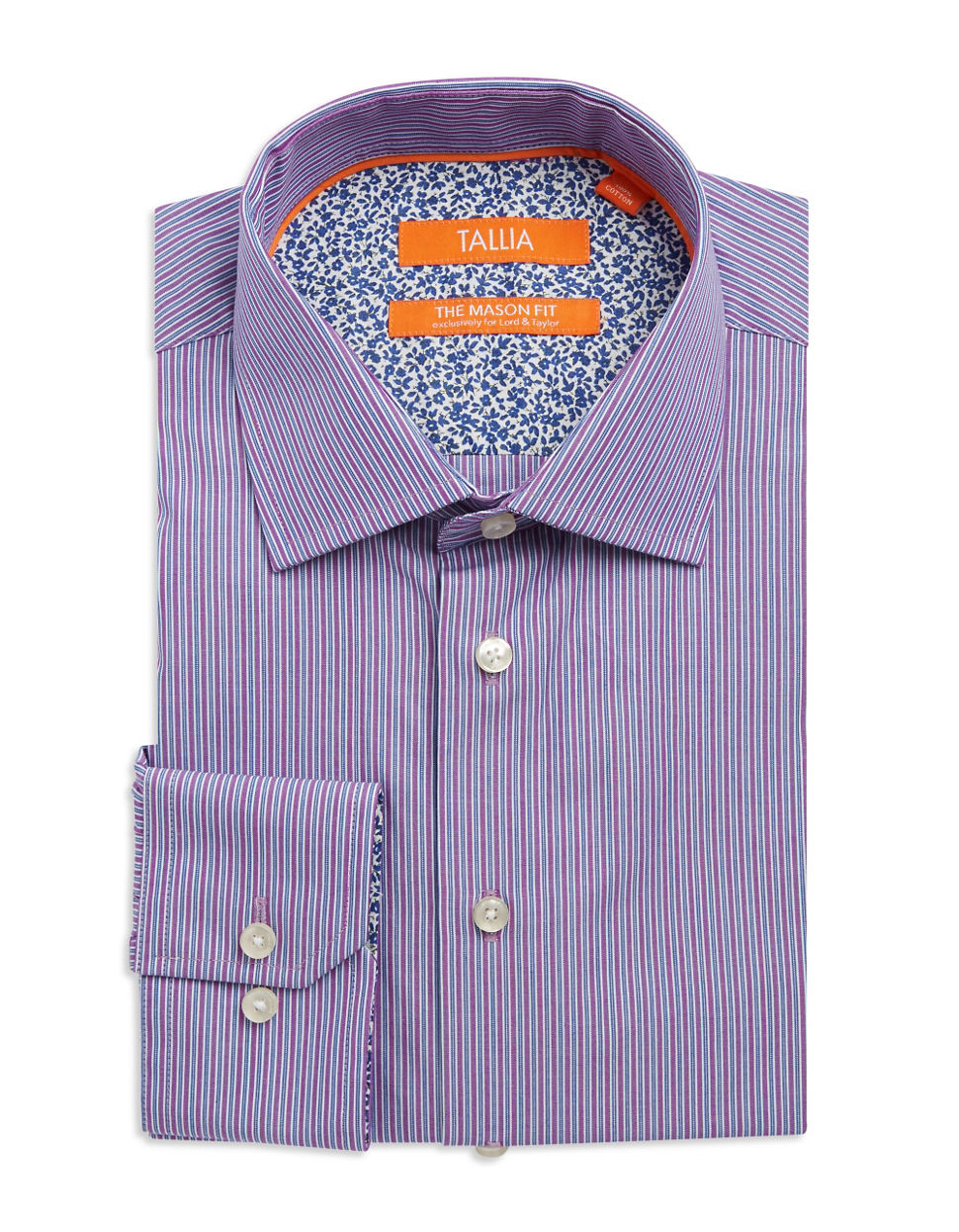 tallia orange striped cotton dress shirt in purple for men