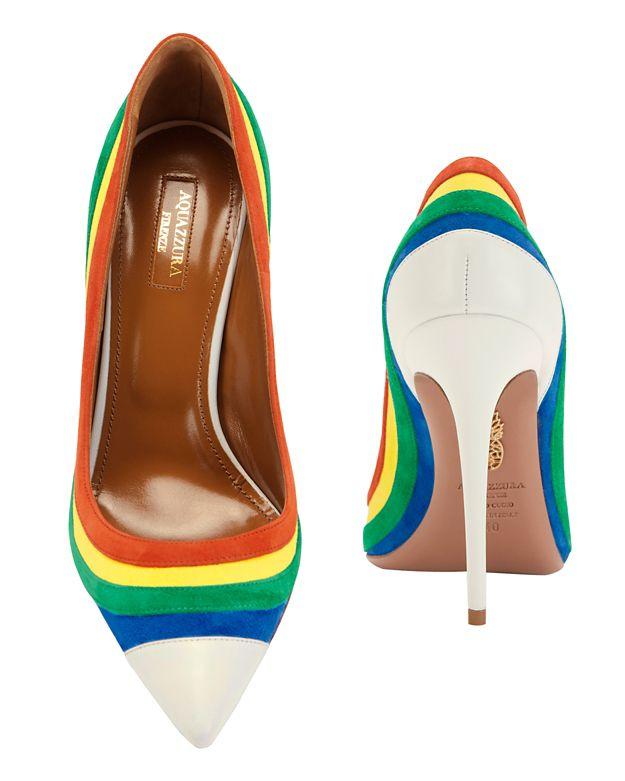50c528f89a6 Lyst - Aquazzura Rainbow Suede Pointy Toe Pump