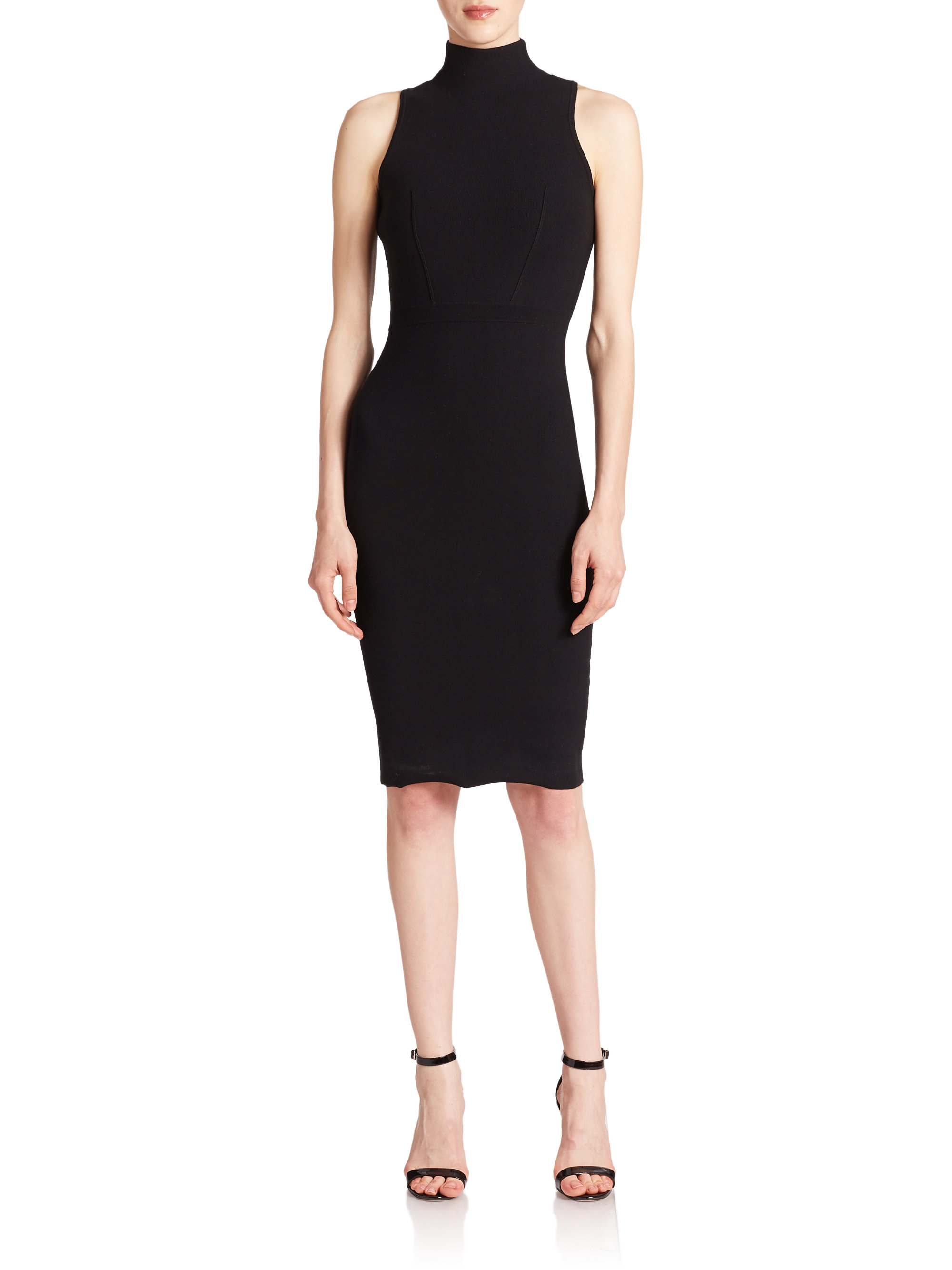 Lyst Milly Sleeveless Turtleneck Sheath Dress In Black