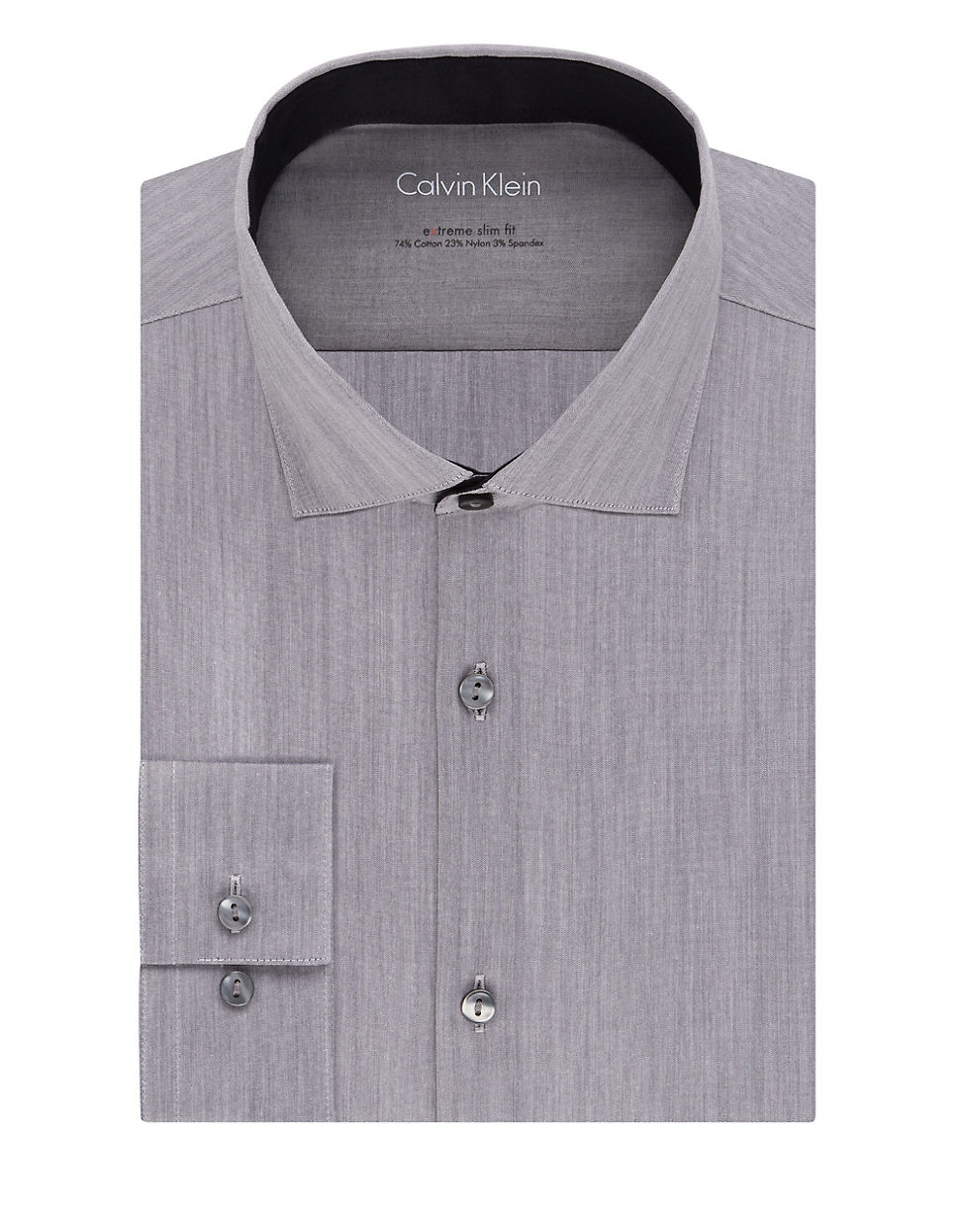 Calvin klein slim fit dress shirt in gray for men lyst for Calvin klein athletic fit dress shirt