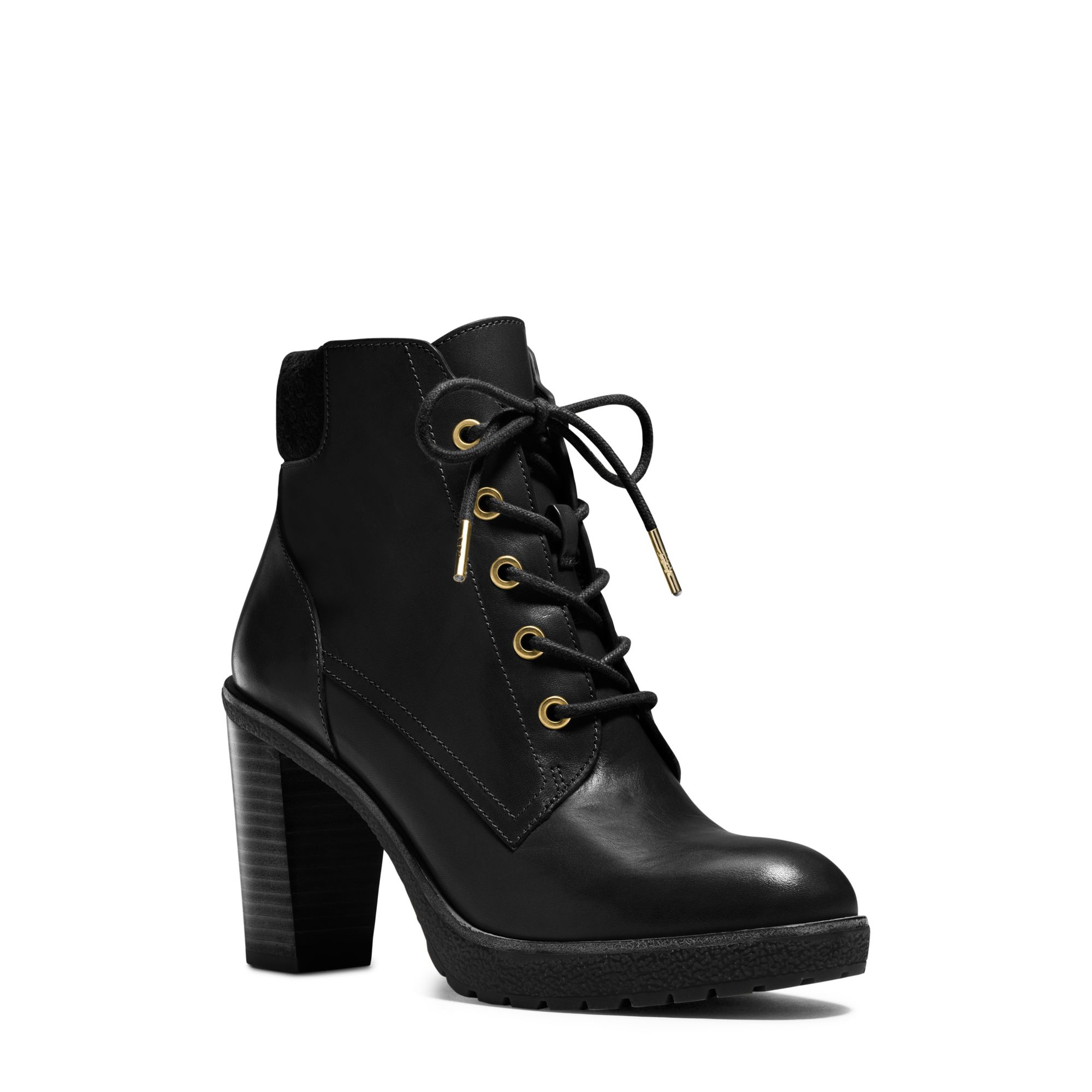 lyst michael kors kim lace up leather ankle boot in black. Black Bedroom Furniture Sets. Home Design Ideas