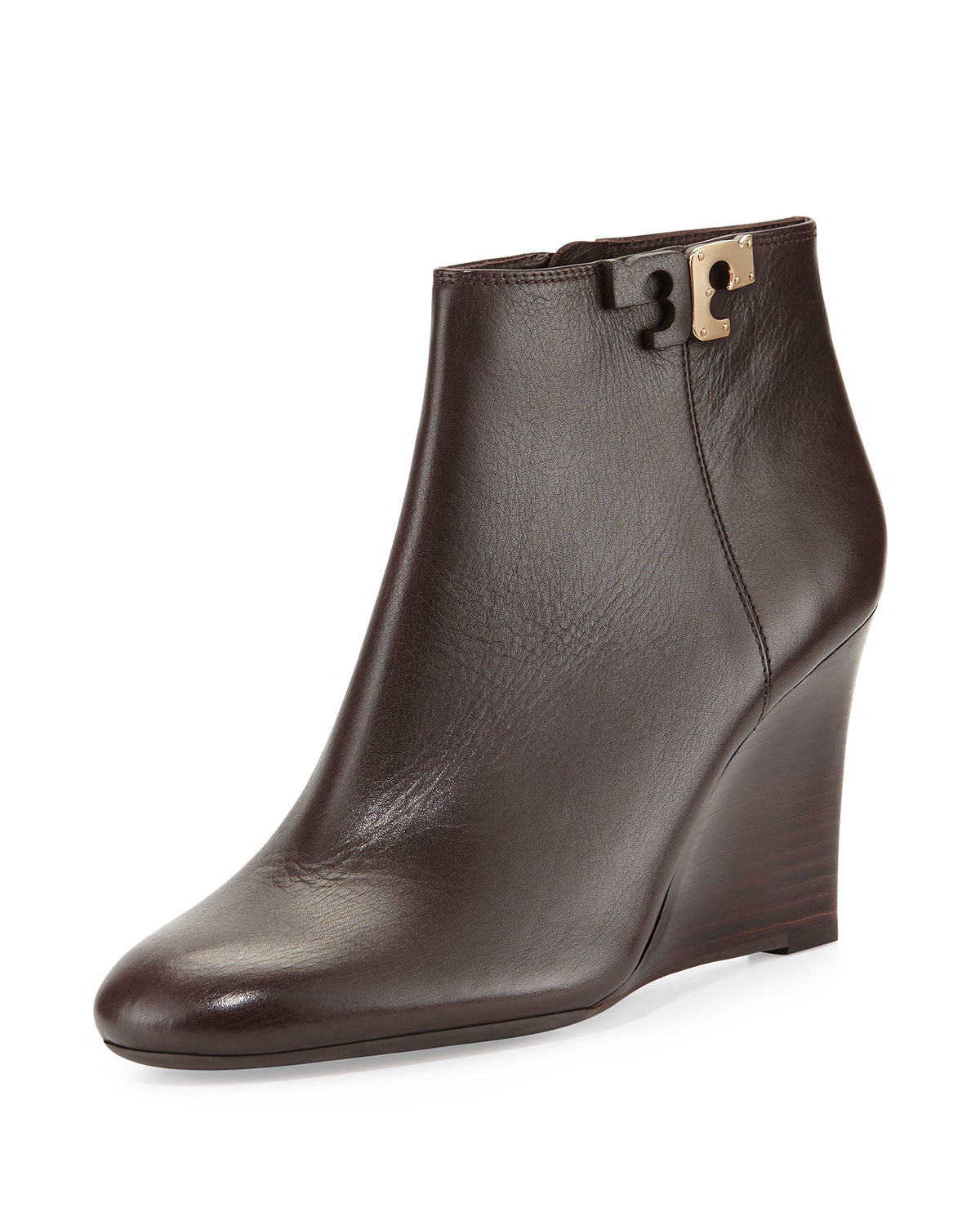 c97ae24fd22f Lyst - Tory Burch Lowell Leather Wedge Bootie in Brown
