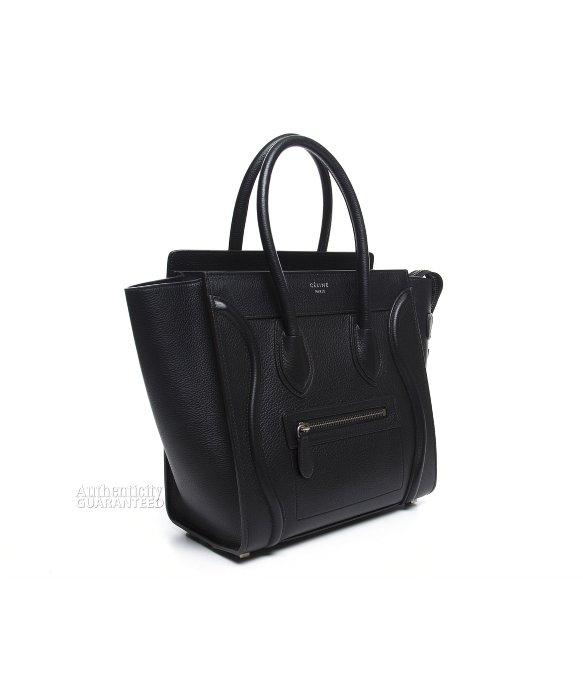 celine black calfskin satchel tote