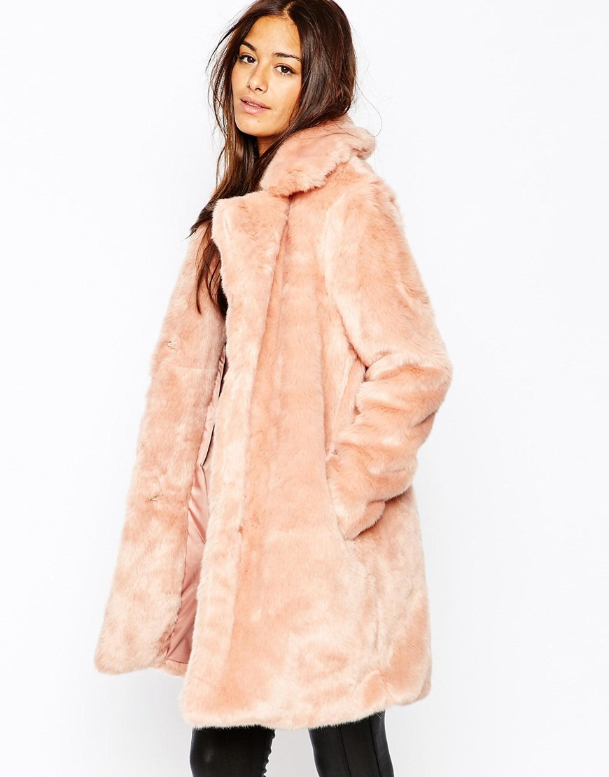 Missguided Faux Fur Longline Coat in Pink | Lyst