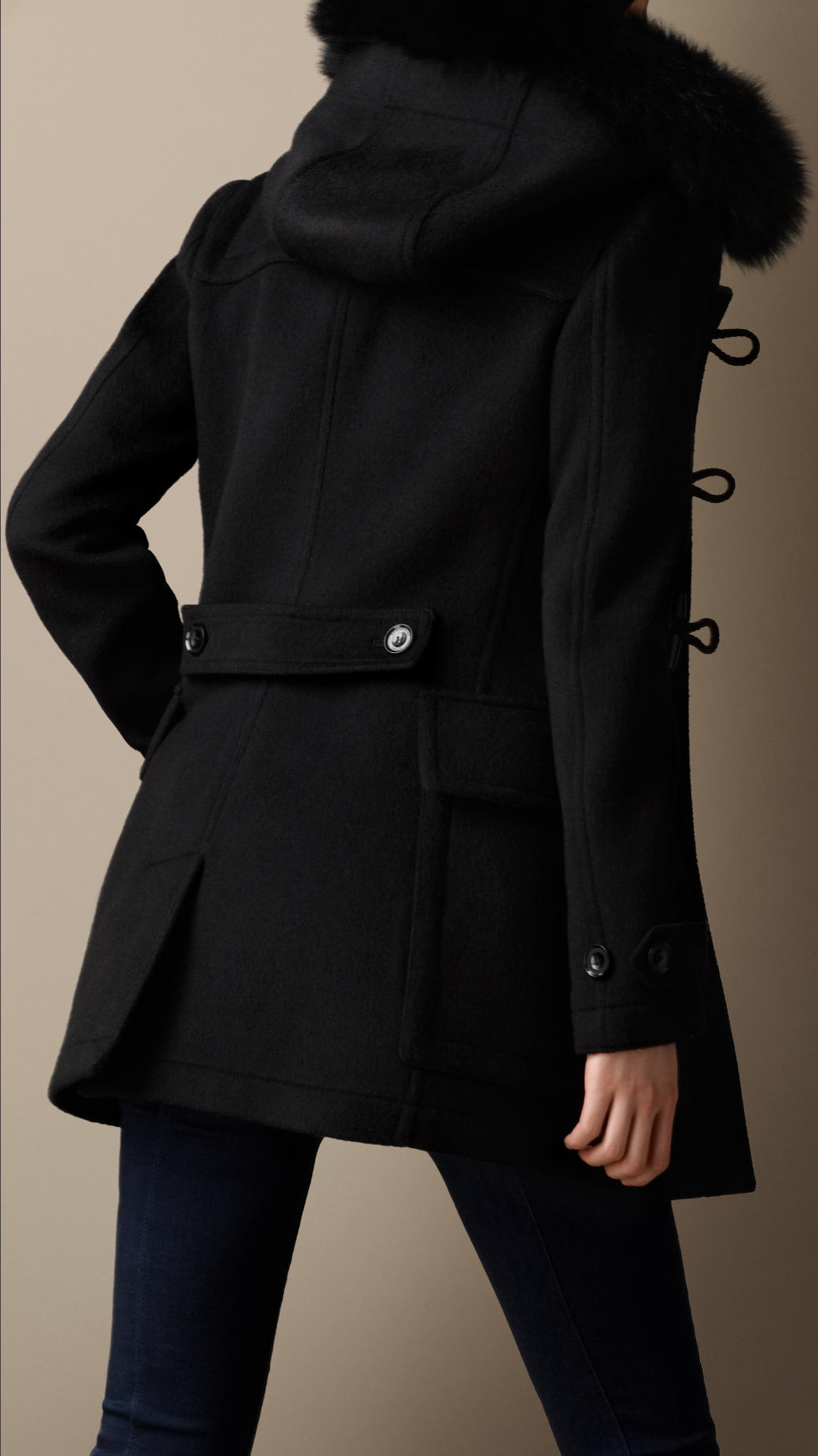 Burberry Detachable Hood Fur Trim Fitted Duffle Coat in Black | Lyst
