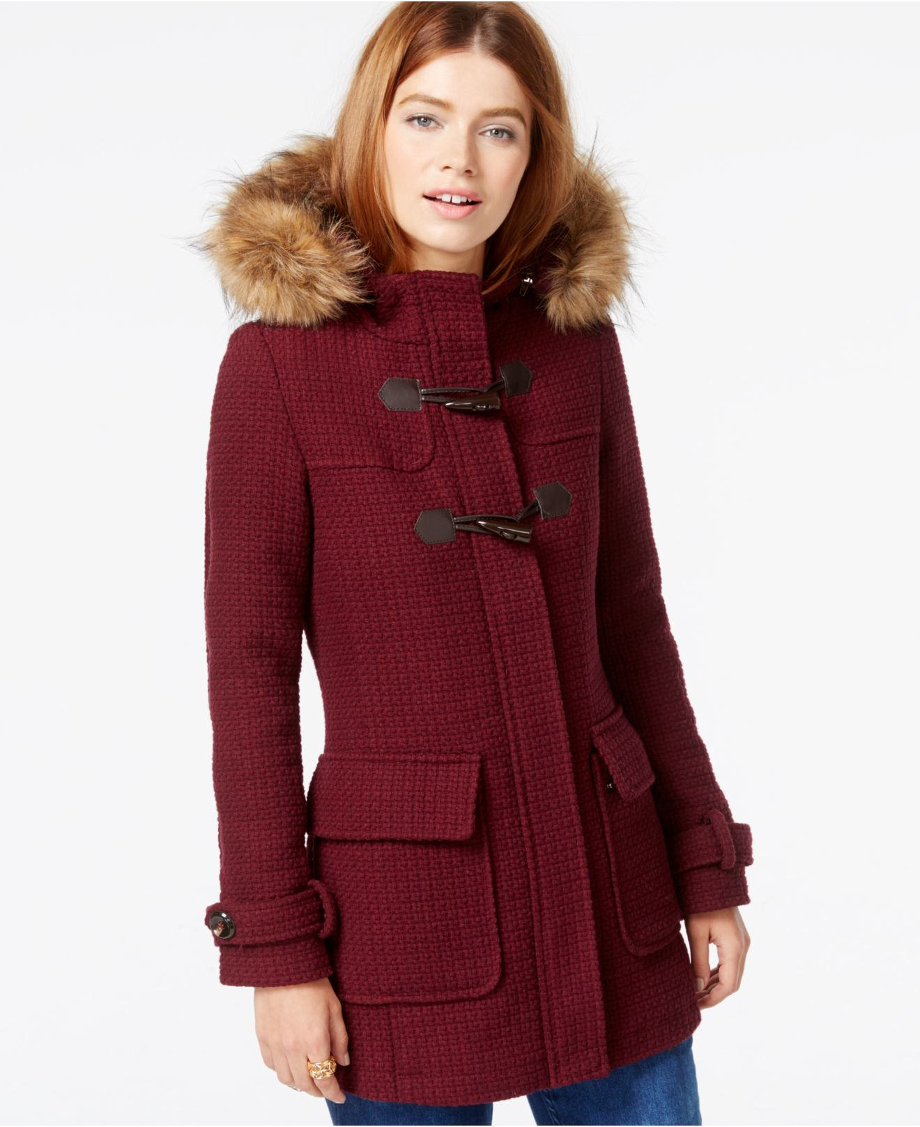Madden girl Faux-fur-trim Textured Duffle Coat in Purple | Lyst