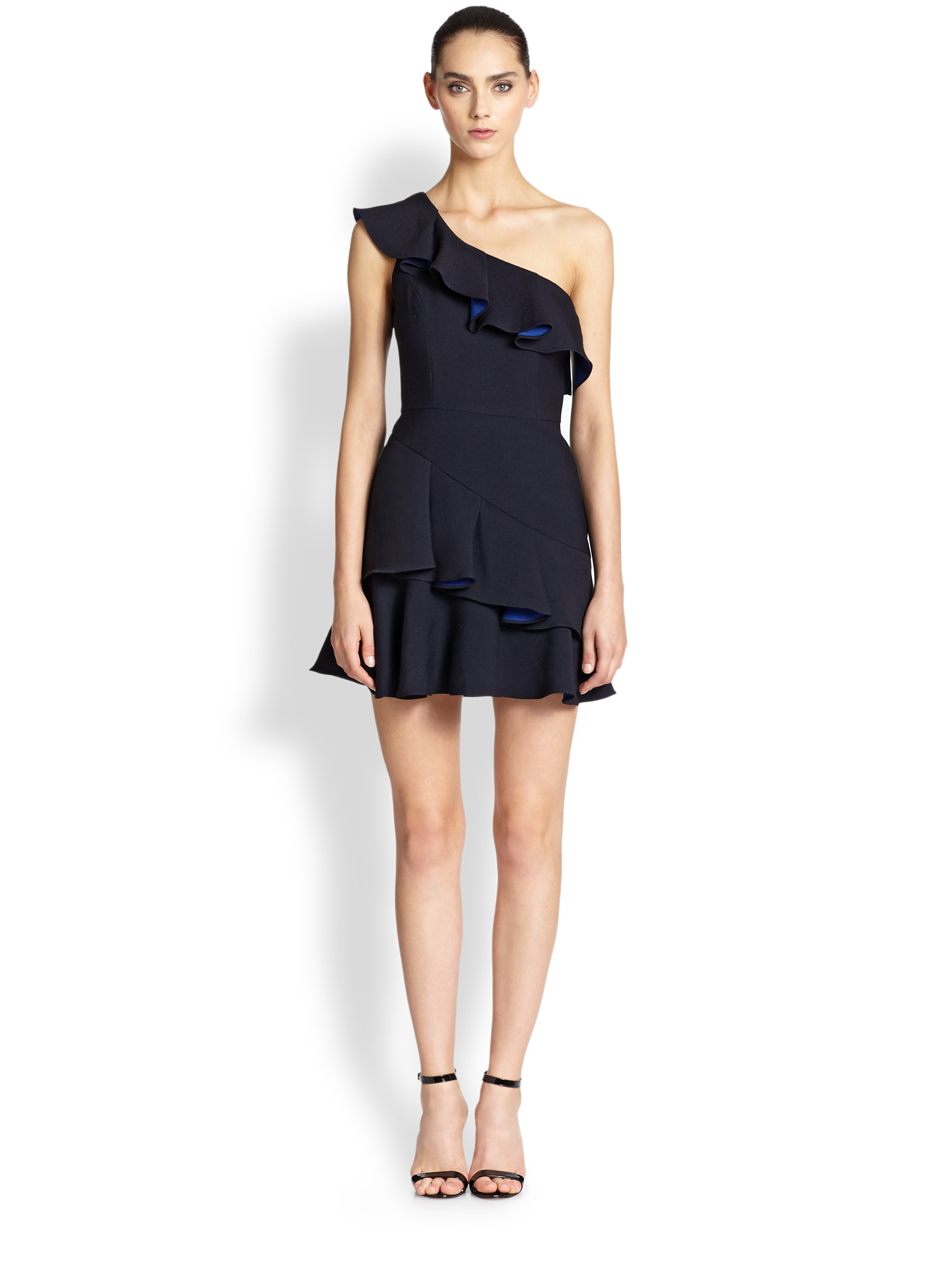 8437b34d9f0 BCBGMAXAZRIA One-Shoulder Ruffle Dress in Black - Lyst