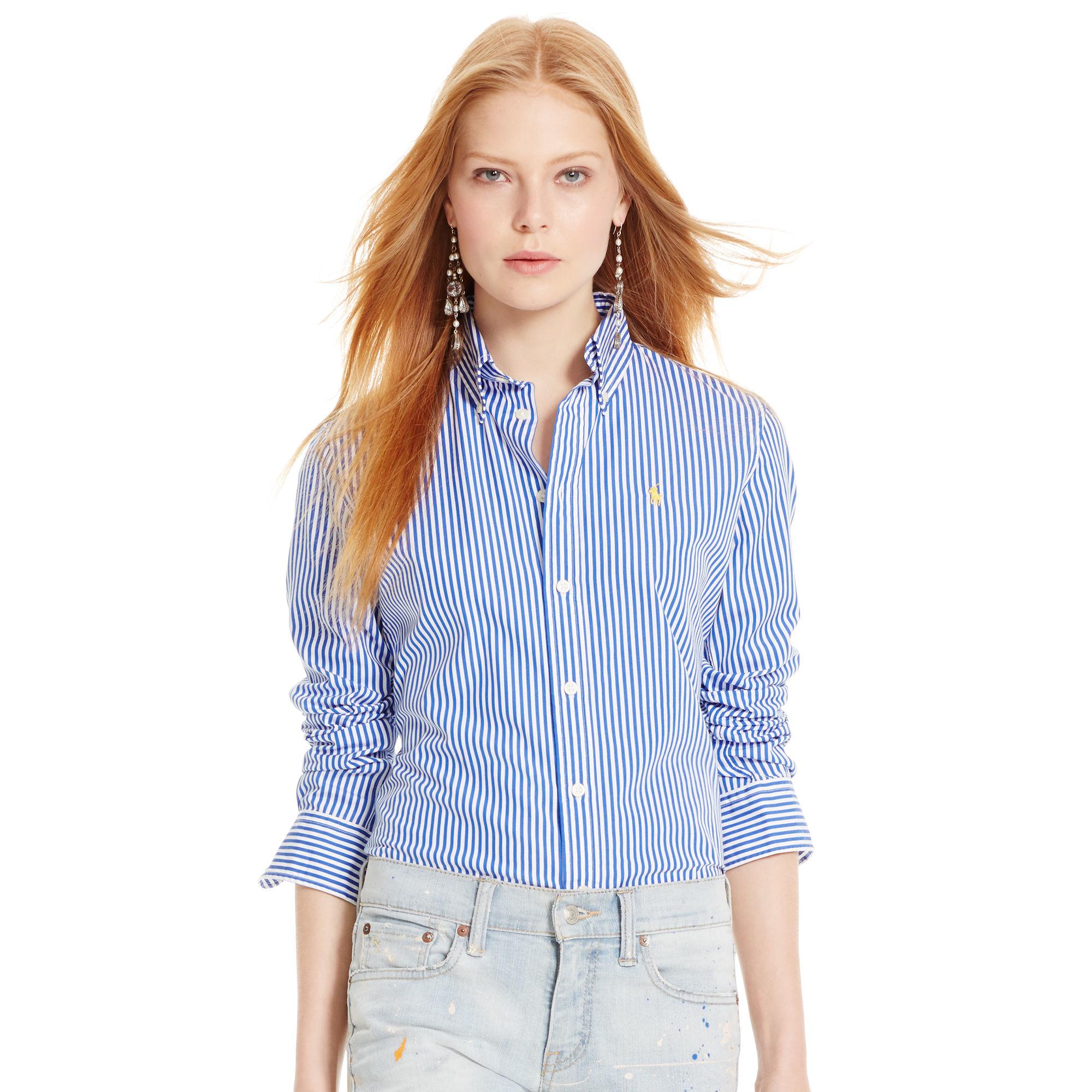 89f1c2bd41 Polo Ralph Lauren Custom-fit Striped Shirt in Blue - Lyst