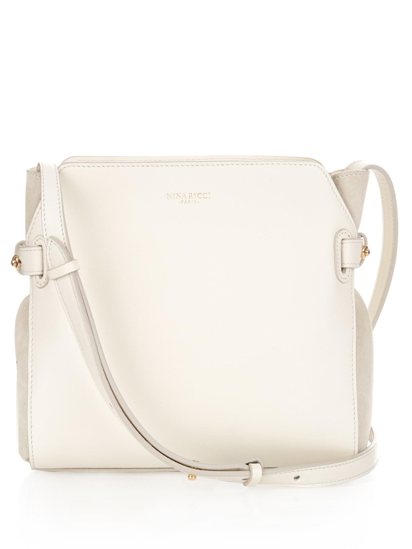 Nina Ricci Marché Leather Cross-Body Bag in White - Lyst 58372e689