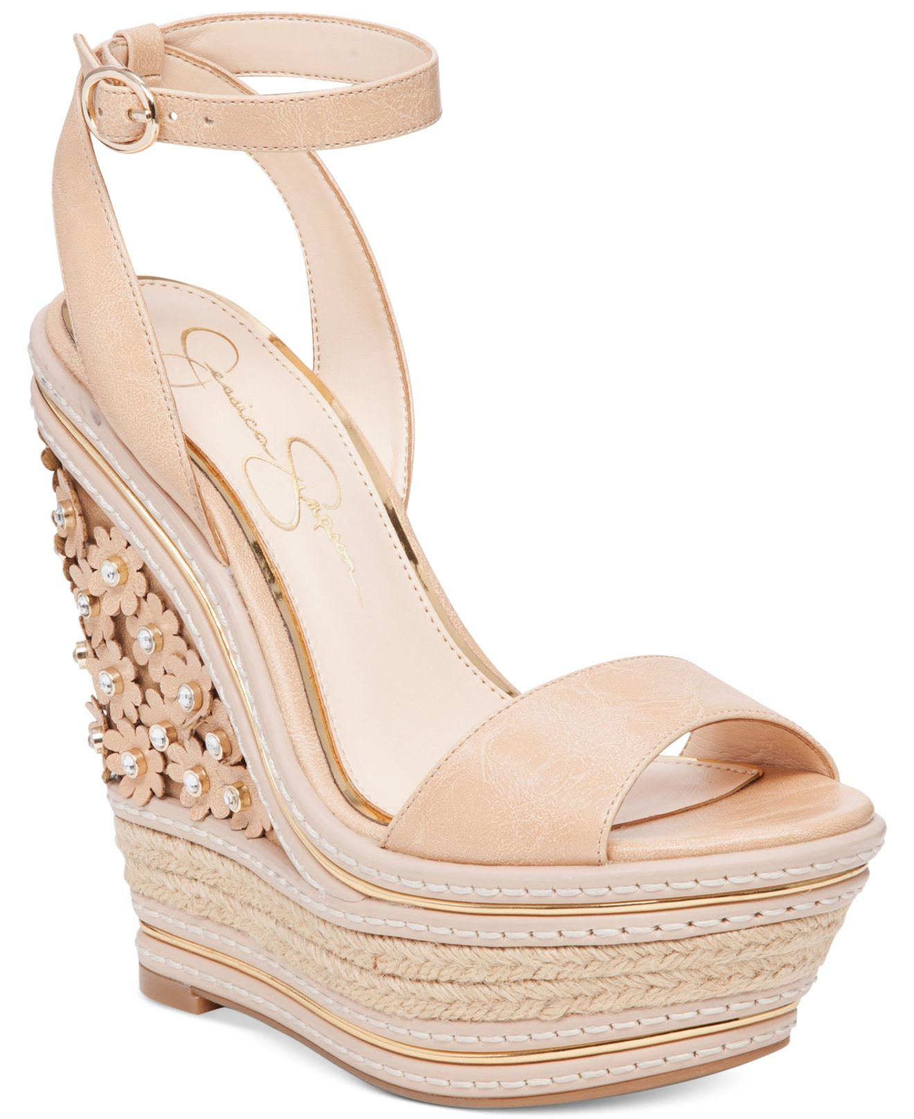 Jessica Simpson Ameka Two Piece Wedge Sandals In Natural